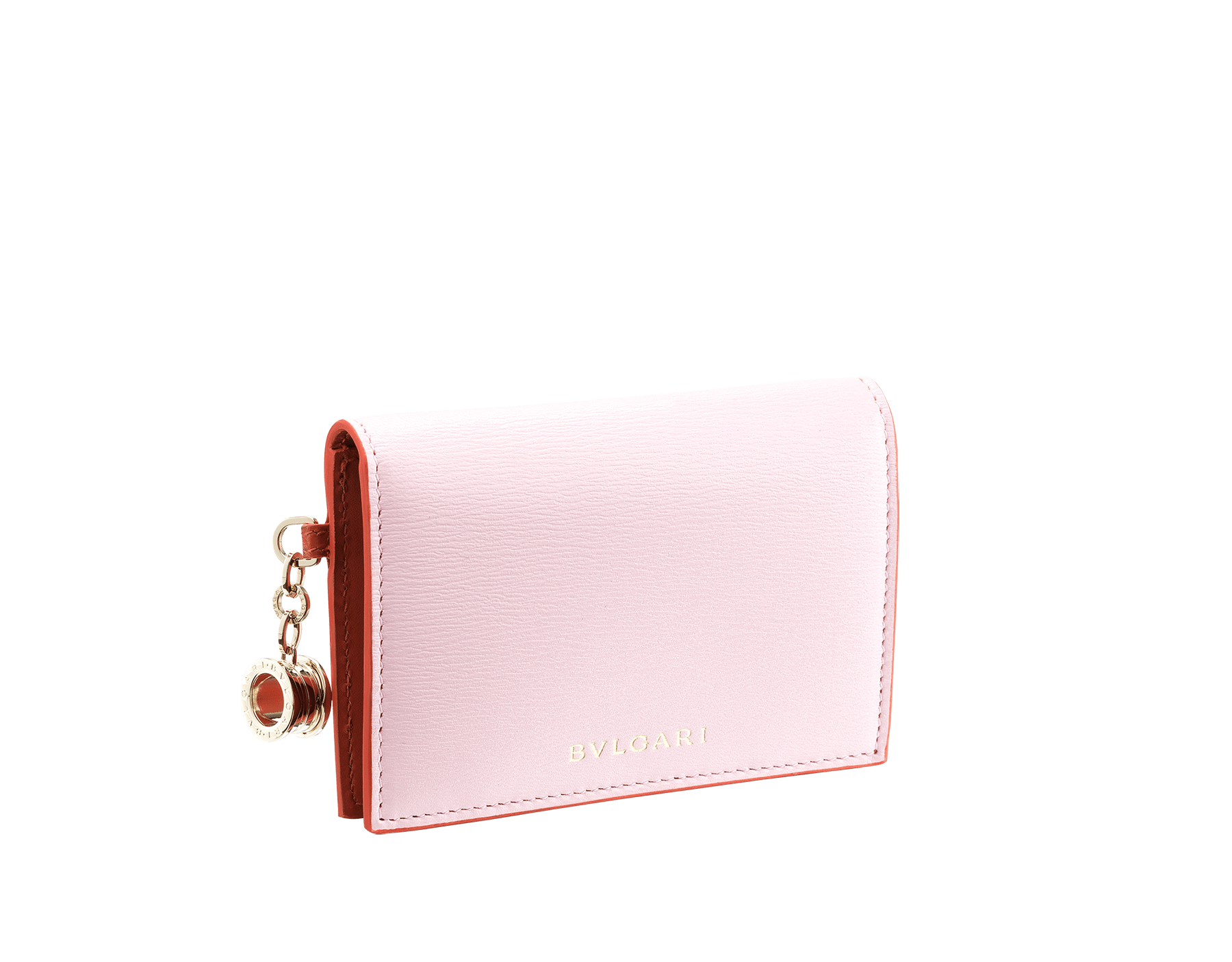 B.zero1 folded credit card holder in rosa di francia and imperial topaz goatskin. Iconic B.zero1 charm in light gold plated brass. 289069 image 1