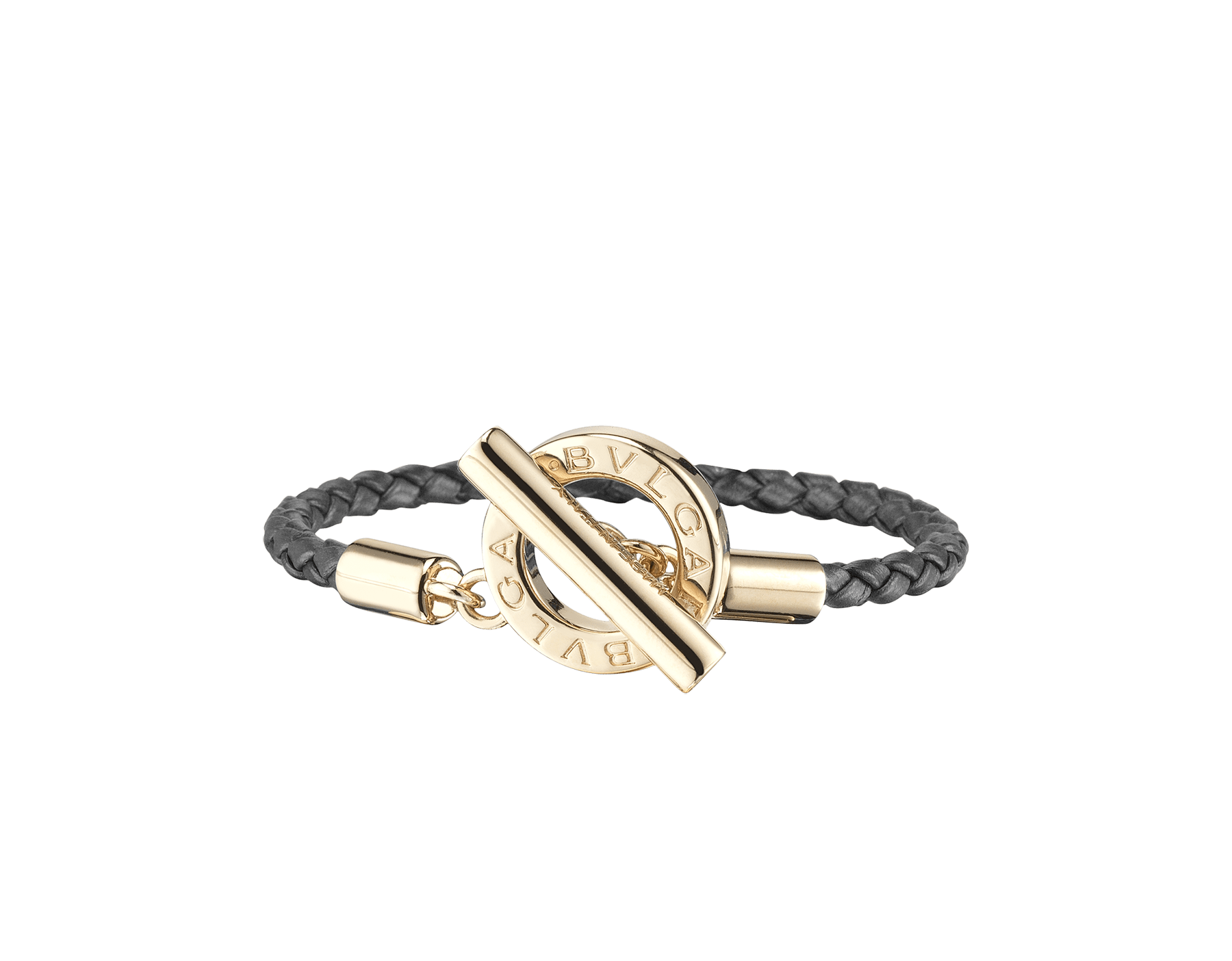 Bvlgari Bvlgari braid bracelet in black woven calf leather with an iconic iconic logo closure in light gold plated brass. BBClasp-WCL-B image 1