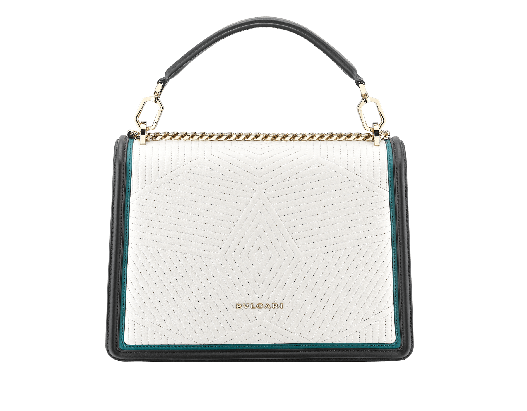 Serpenti Diamond Blast shoulder bag in white agate quilted nappa leather body and deep jade and black calf leather frames. Snakehead closure in light gold plated brass decorated with deep jade and black enamel, and black onyx eyes. 287971 image 3