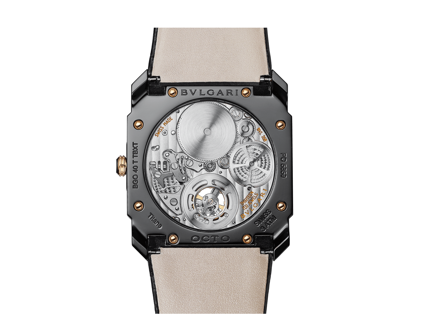 Orologio Octo Finissimo Tourbillon con movimento meccanico di manifattura ultrapiatto a carica manuale con cuscinetti a sfera, cassa in titanio con trattamento DLC (Diamond-Like Carbon), quadrante laccato nero con tourbillon a vista e cinturino in alligatore nero. 102560 image 5