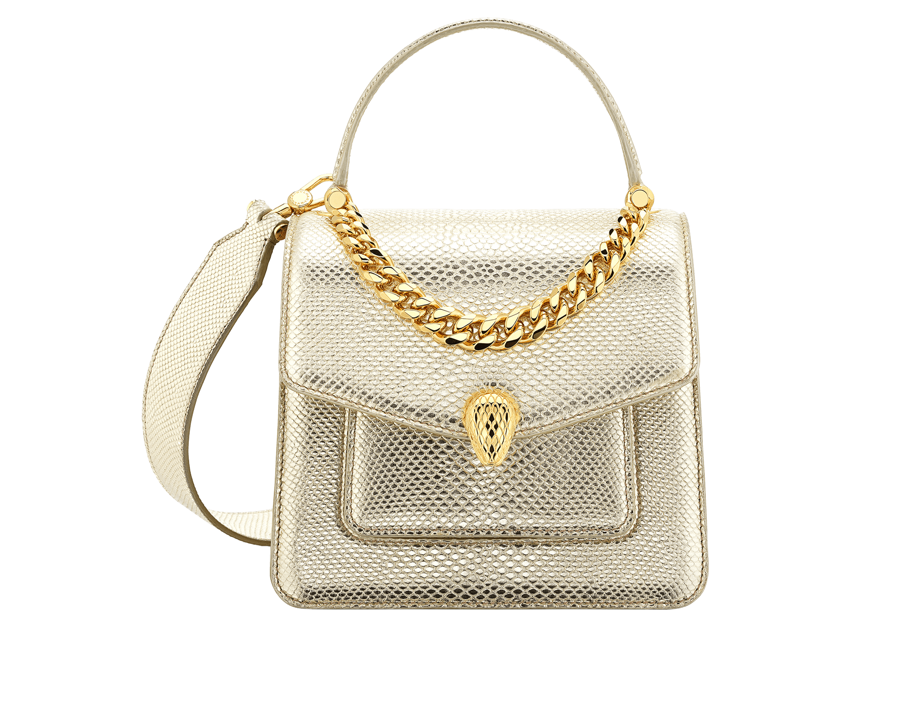"""Serpenti Forever"" small maxi chain top handle bag in peach nappa leather, with Lavander Amethyst lilac nappa leather internal lining. New Serpenti head closure in gold plated brass, finished with small pink mother-of-pearl scales in the middle and red enamel eyes. 1133-MCN image 1"