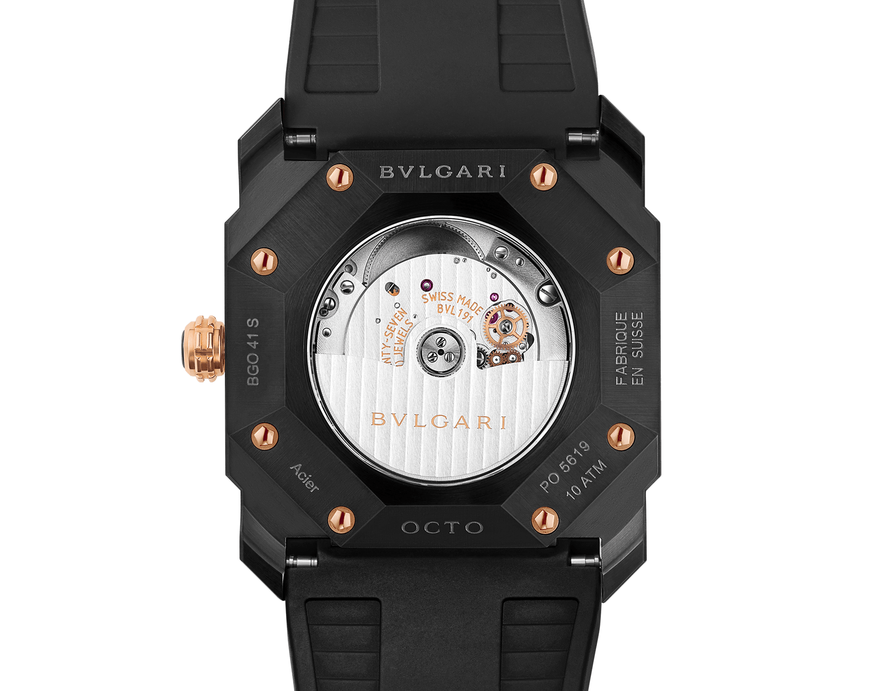 Octo watch with mechanical manufacture movement, automatic winding and date, stainless steel case treated with black Diamond Like Carbon, black lacquered dial and black rubber bracelet. 102581 image 4