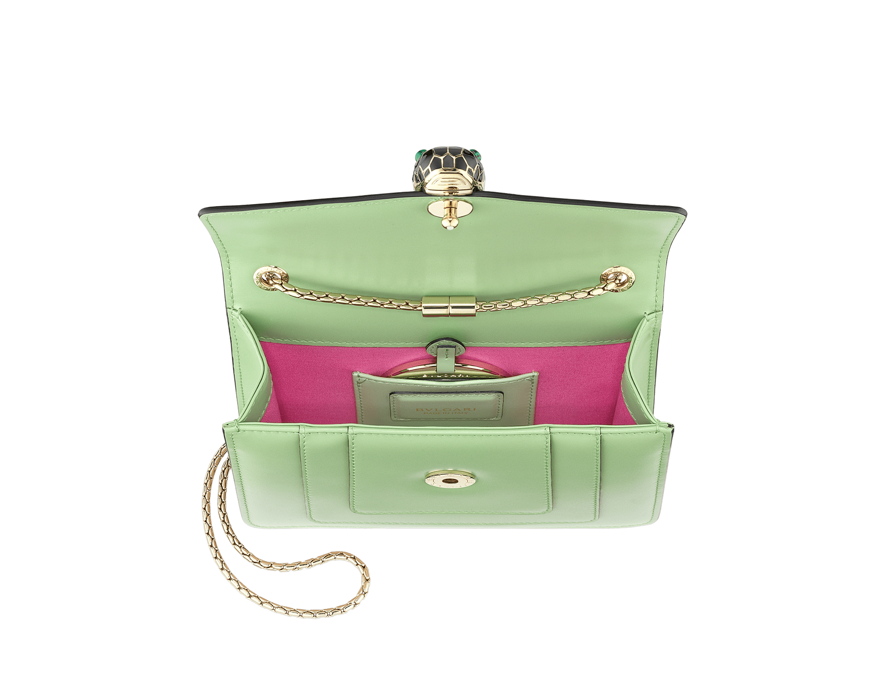 """Serpenti Forever"" crossbody bag in mint calf leather. Iconic snakehead closure in light gold plated brass enriched with black and white agate enamel, and green malachite eyes. 422-CLd image 4"