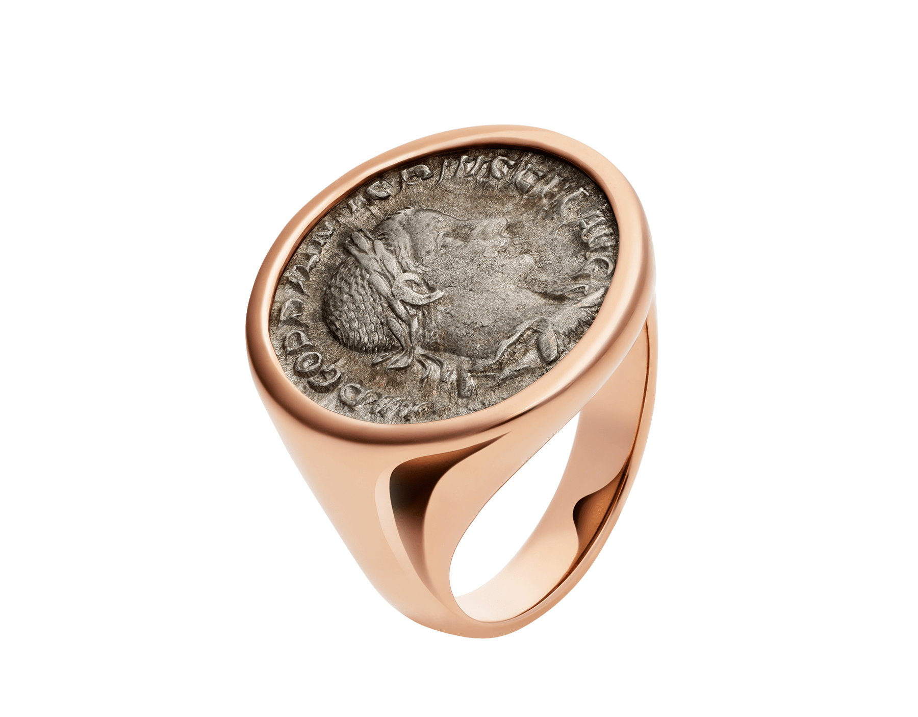 Monete 18 kt rose gold ring set with antique bronze or silver coin AN856864 image 1