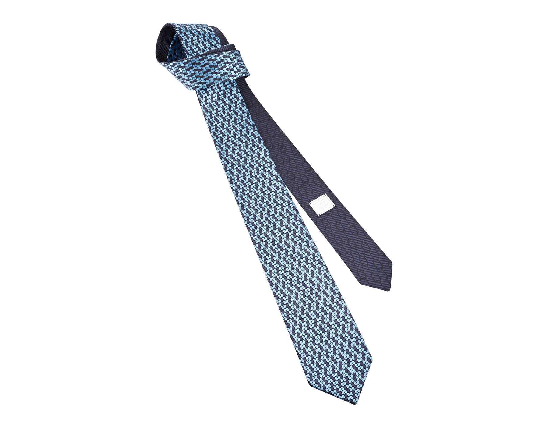 ネイビーのダブル マルチスケール ネクタイ。上質なジャカードシルク製。 244428 image 1
