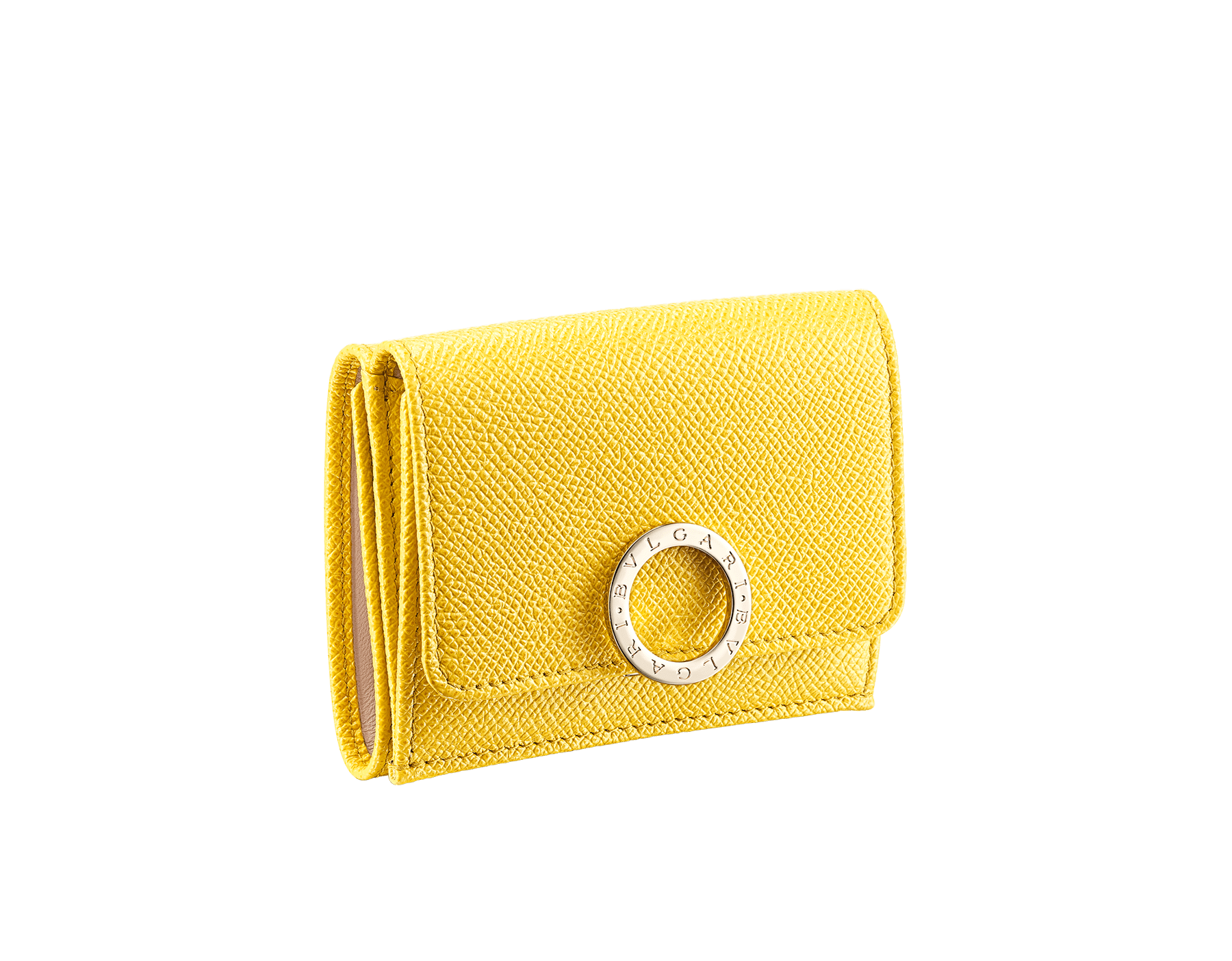 BVLGARI BVLGARI compact wallet in mint bright grain calf leather and taffy quartz nappa leather. Iconic logo clip closure in light gold plated brass on the flap and a press stud closure on the body. 579-MINICOMPACTb image 1