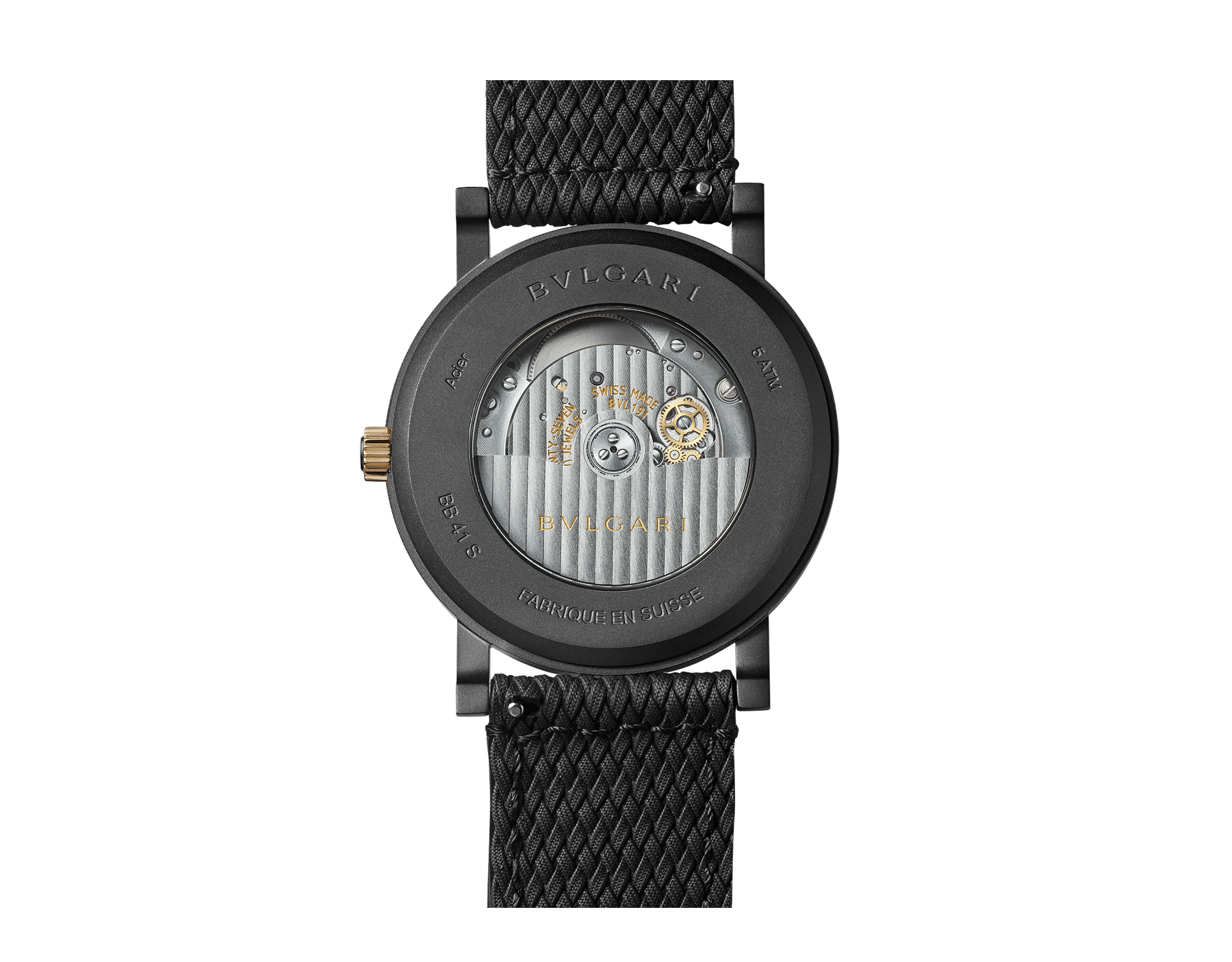 BVLGARI BVLGARI Solotempo watch with mechanical manufacture movement, automatic winding and date, stainless steel case treated with black Diamond Like Carbon and bezel engraved with double logo, black dial, black rubber bracelet and interchangeable brown calf leather bracelet 102929 image 4