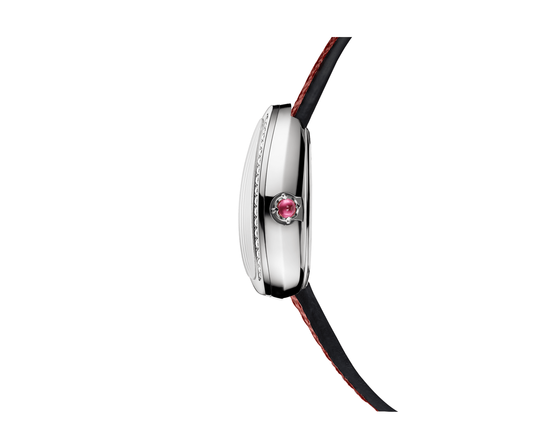 Serpenti watch with stainless steel case set with round brilliant-cut diamonds, white mother-of-pearl dial and interchangeable double spiral bracelet in red karung leather 102920 image 2