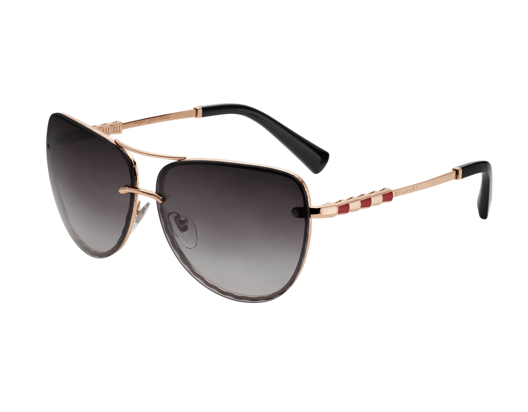 Bvlgari Serpenti Pilot gold plated metal sunglasses with gemstones and polar lenses. 903683 image 1