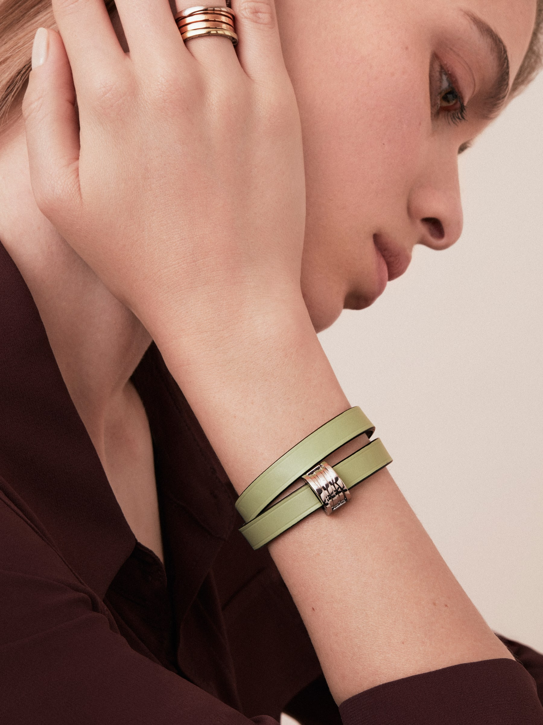 """Bvlgari Bvlgari"" double-coiled bracelet in mint calf leather, with B.Zero1 snap closure in light gold plated brass. BZERO1-CL-M image 2"