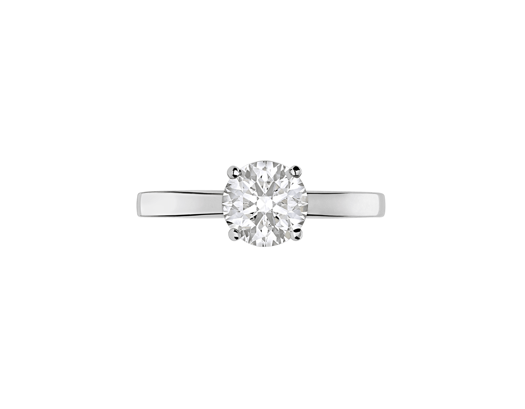 Griffe solitaire ring in platinum with round brilliant cut diamond AN201215 image 3