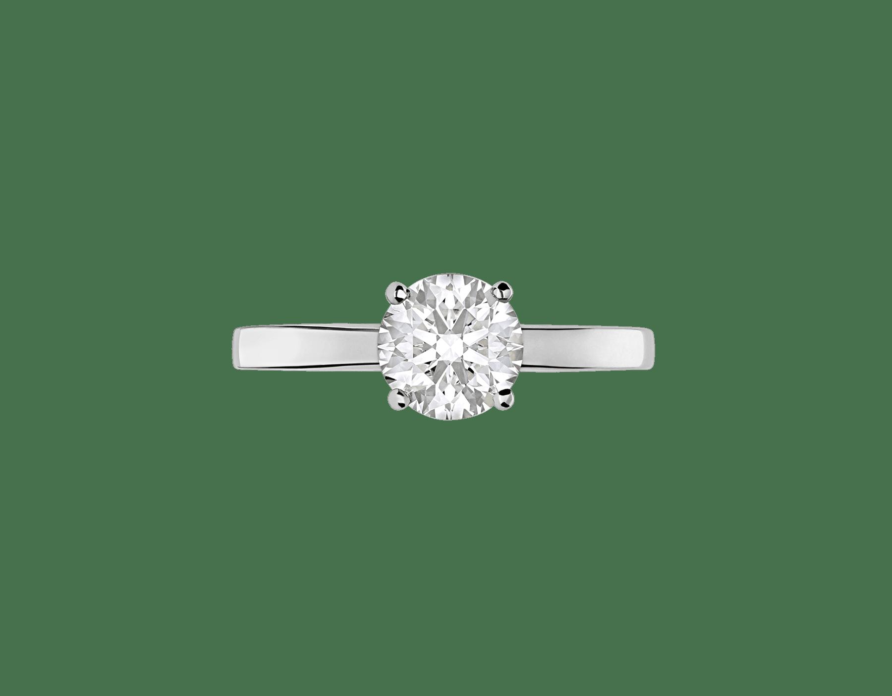 Solitaire Griffe en platine serti d'un diamant rond taille brillant AN201215 image 3