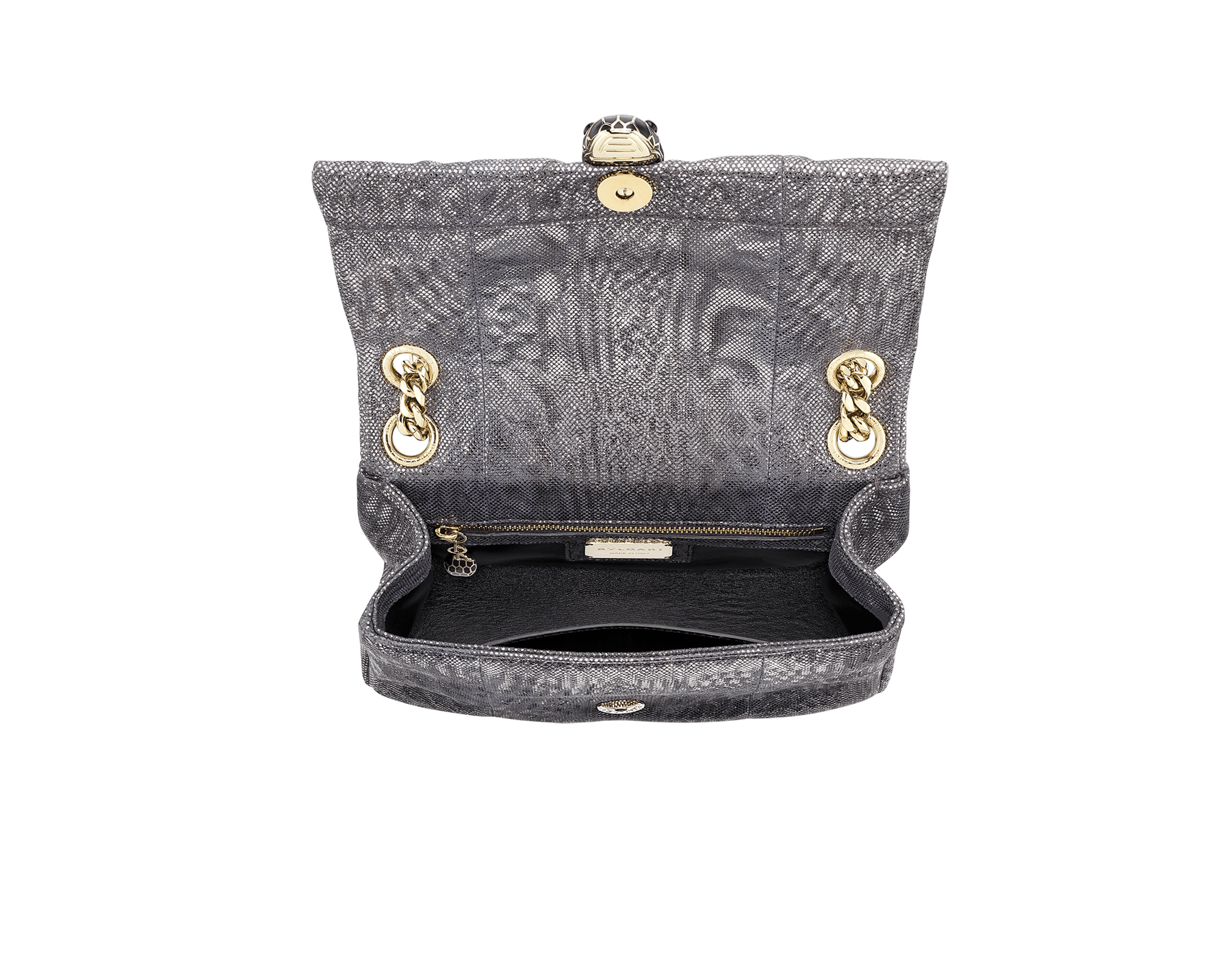 Serpenti Cabochon shoulder bag in soft matelassé charcoal diamond metallic karung skin with graphic motif. Snakehead closure in light gold plated brass decorated with matte black and glitter charcoal diamond enamel, and black onyx eyes. 290237 image 4