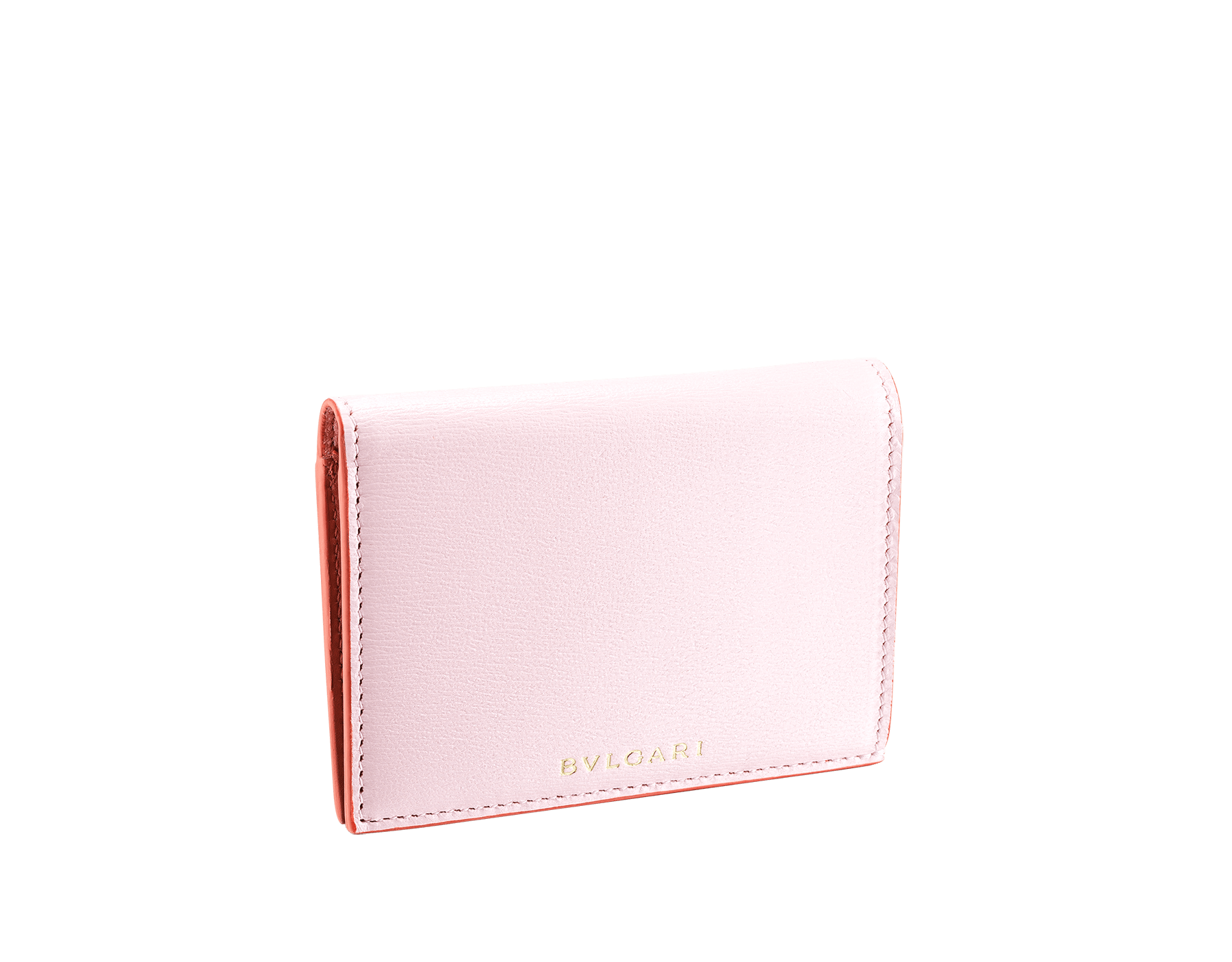 B.zero1 double folded credit card holder in rosa di francia and imperial topaz goatskin. Iconic B.zero1 charm in light gold plated brass. 289086 image 1