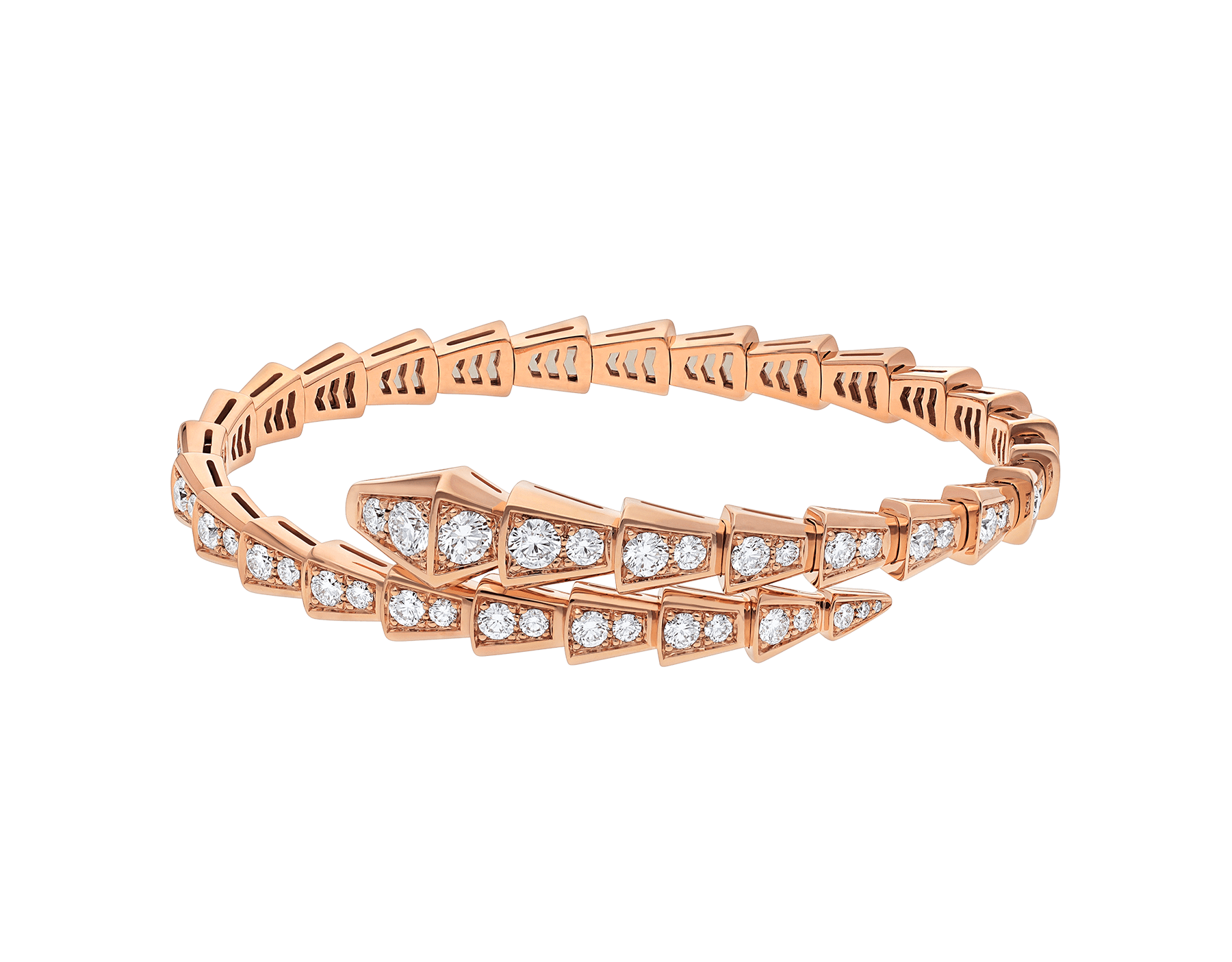 Serpenti Viperone-coil thin bracelet in 18 kt rose gold and full pavé diamonds . BR858084 image 2