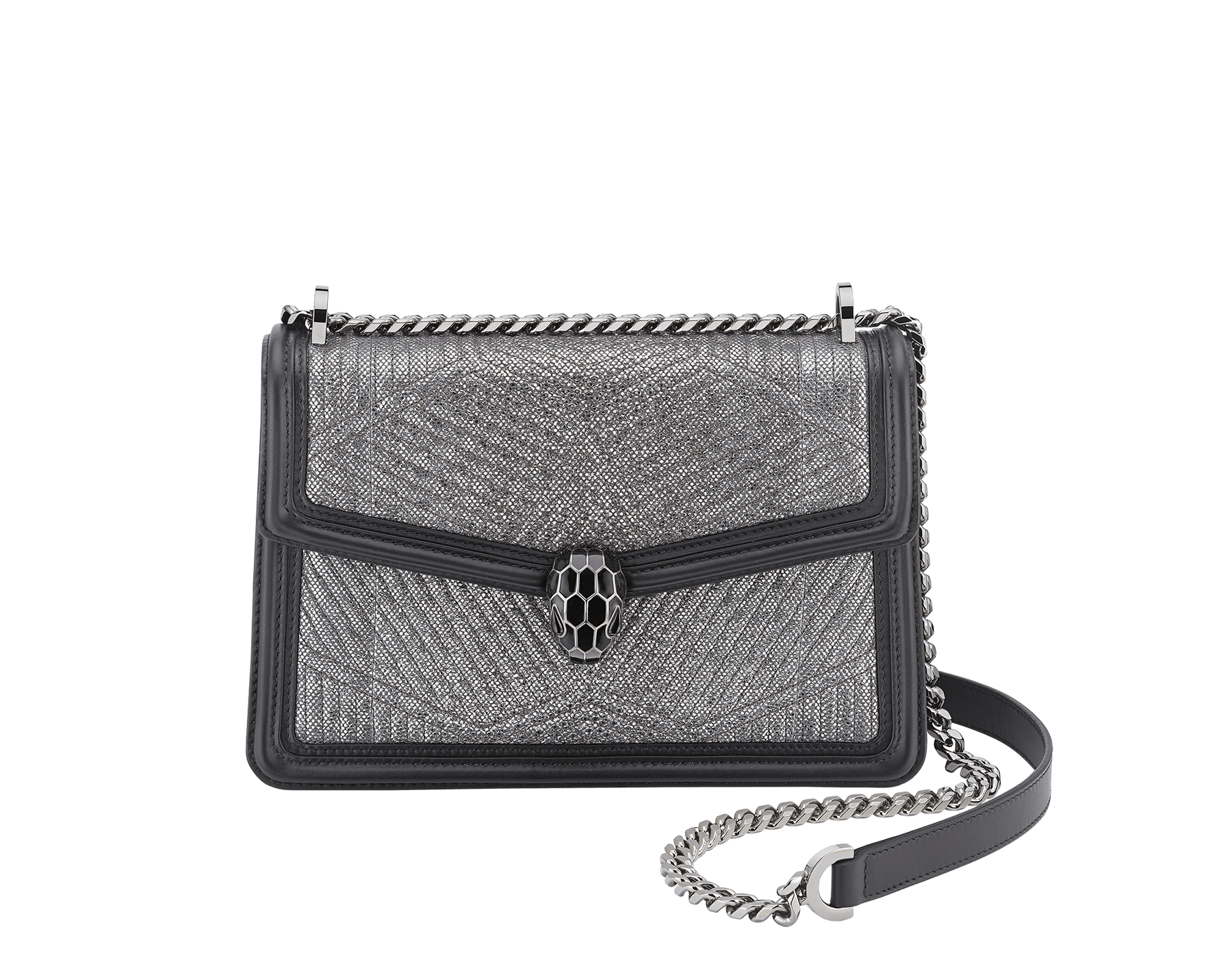 """Serpenti Diamond Blast"" shoulder bag in white agate quilted metallic karung skin and white agate calf leather frames. Iconic snakehead closure in light gold plated brass enriched with black and white agate enamel and black onyx eyes. 922-MK image 1"