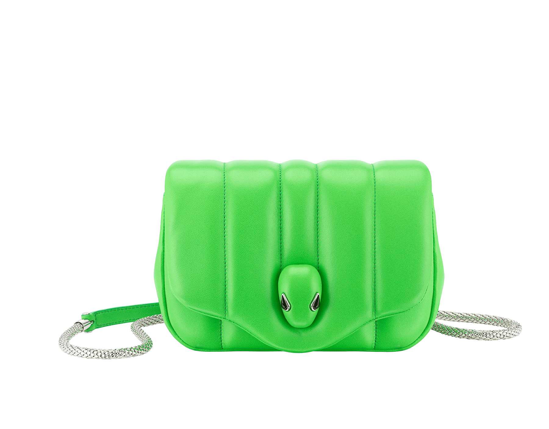 """Ambush x Bvlgari"" belt bag in bright green nappa leather. New Serpenti head closure in palladium plated brass dressed with bright green nappa leather, finished with seductive black onyx eyes. Limited edition. 290351 image 1"