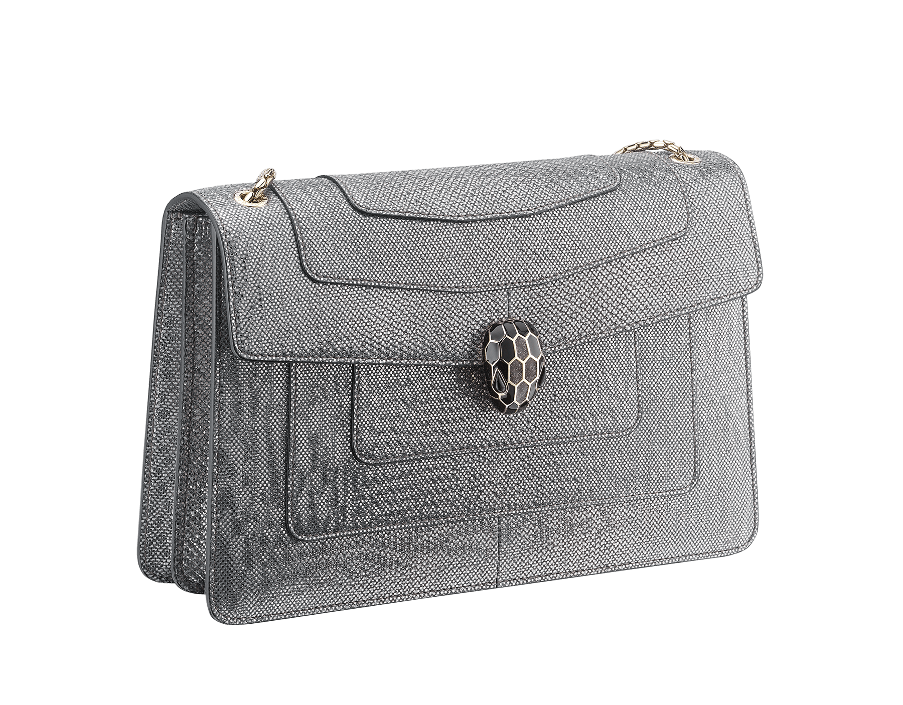 Flap cover bag Serpenti Forever in metallic silver karung skin. Brass light gold plated tempting snake head closure in shiny black and glitter silver enamel, with eyes in black onyx.  521-MK image 2