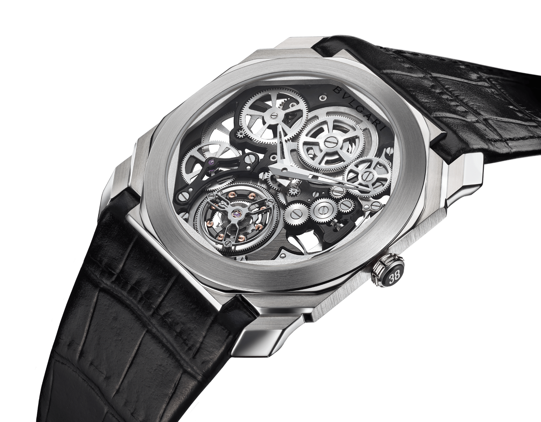 Octo Finissimo Tourbillon Squelette 腕錶搭載超薄鏤空機械機芯,手動上鍊,滾珠軸承系統,鉑金錶殼,透明錶盤,黑色鱷魚皮錶帶。 102719 image 2