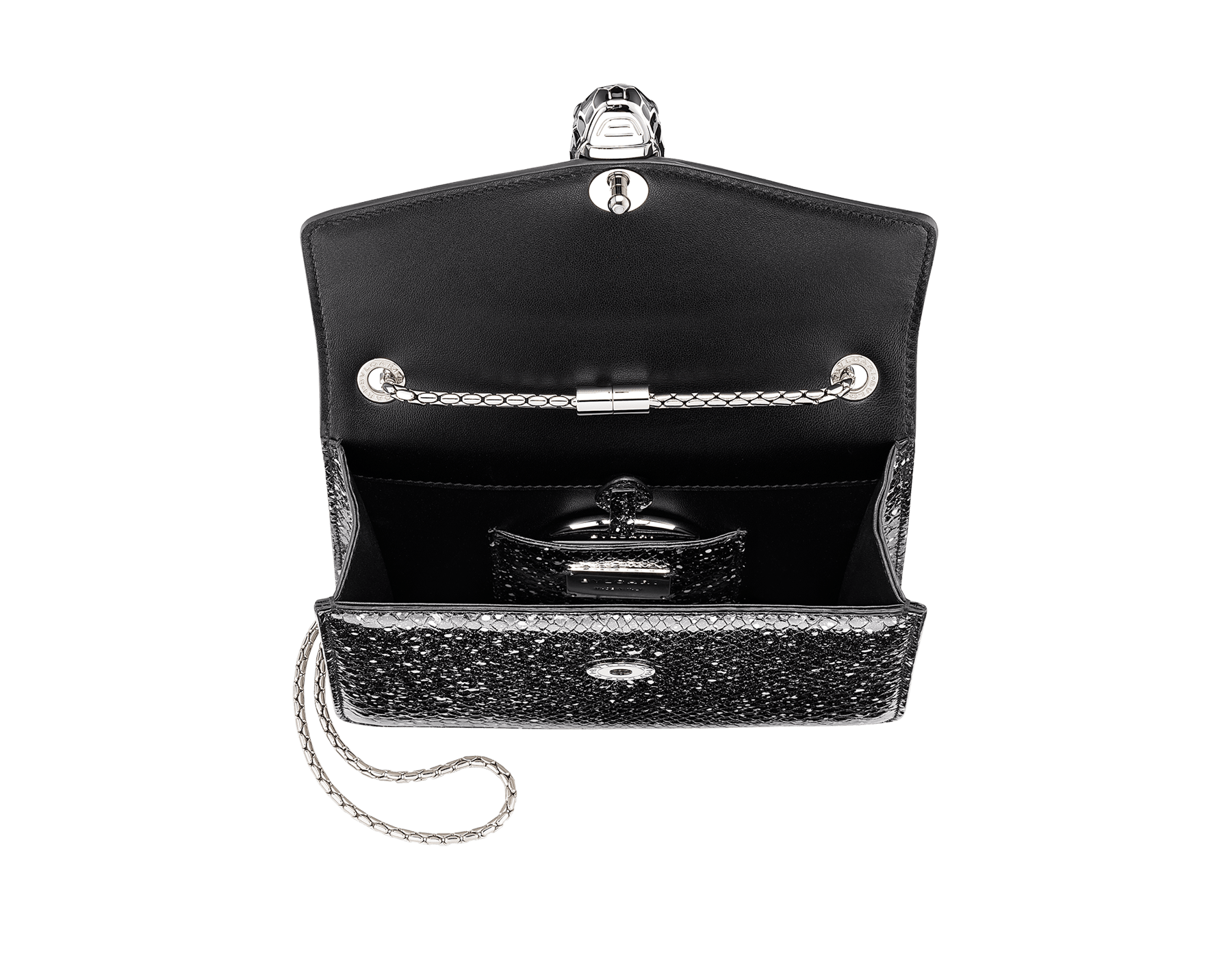 Serpenti Forever crossbody bag in black and white Cosmic python skin. Snakehead closure in palladium plated brass decorated with black and white enamel, and black onyx eyes. 288110 image 4