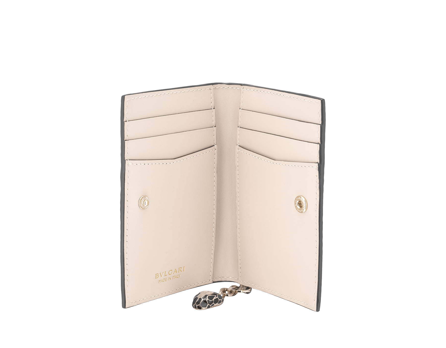 """Serpenti Forever"" folded card holder in mint and taffy quartz calf leather. Iconic snakehead charm in black and white enamel with emerald green enamel eyes. SEA-CC-HOLDER-FOLD-CLa image 2"
