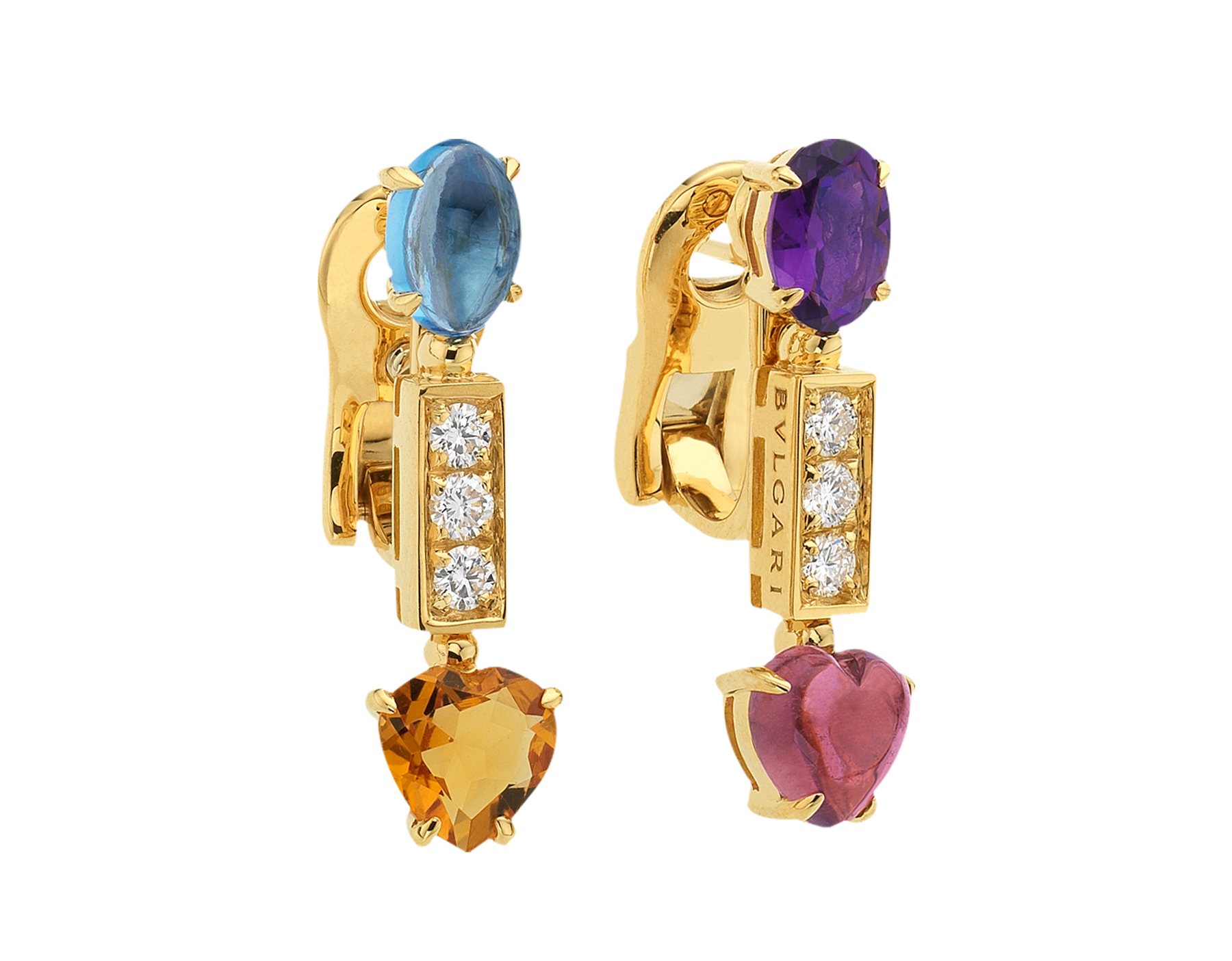 Allegra short 18 kt yellow gold pendant earrings set with pink tourmaline, amethyst, citrine quartz, blue topaz and pavé diamonds 334677 image 2