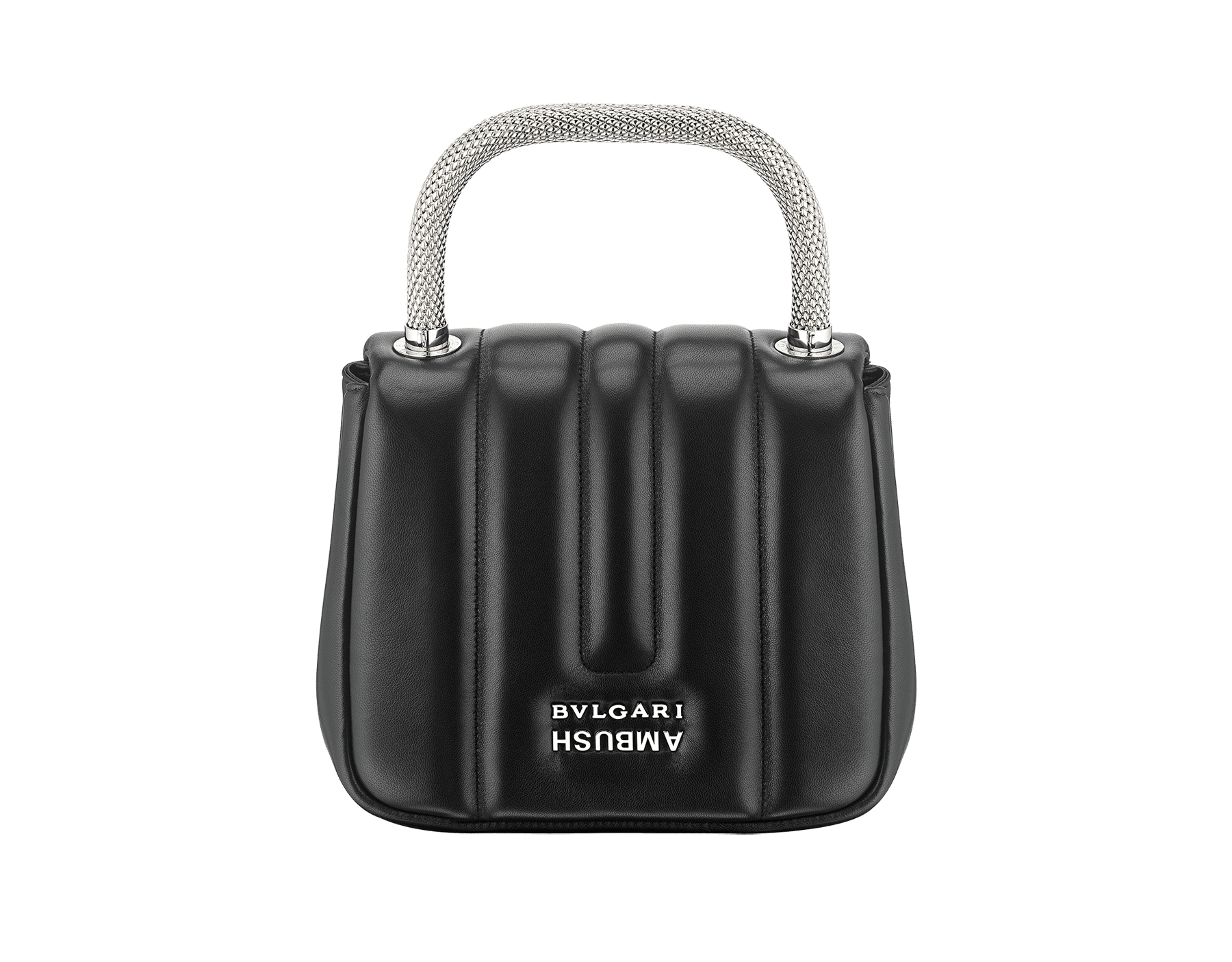 """Ambush x Bvlgari"" top handle bag in black nappa leather. New Serpenti head closure in palladium plated brass dressed with black nappa leather, finished with seductive mother of pearl eyes. Limited edition. 290343 image 3"