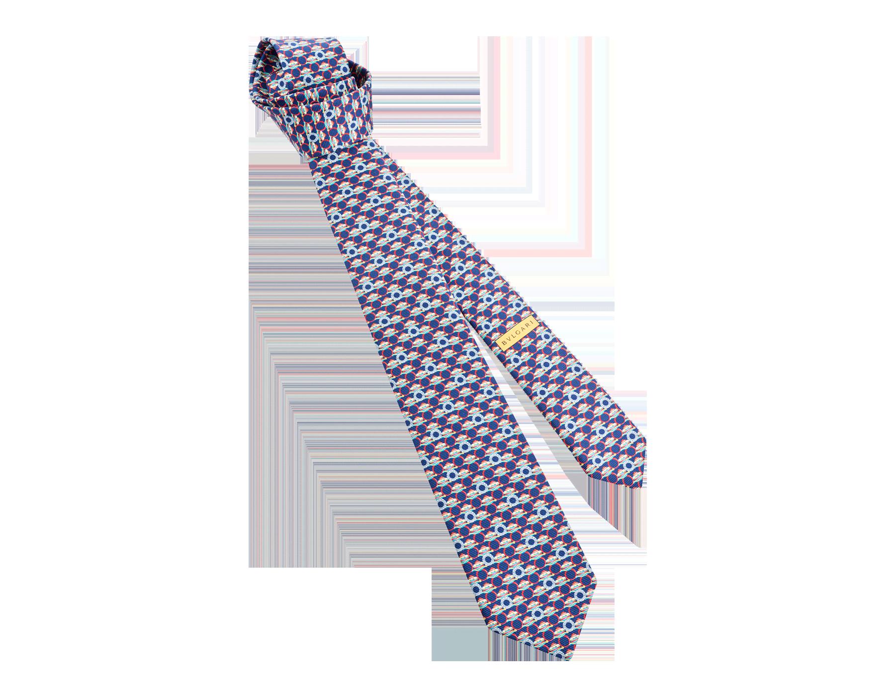 Navy Ring Cake Logo pattern seven-fold tie in fine saglione printed silk. 244196 image 1