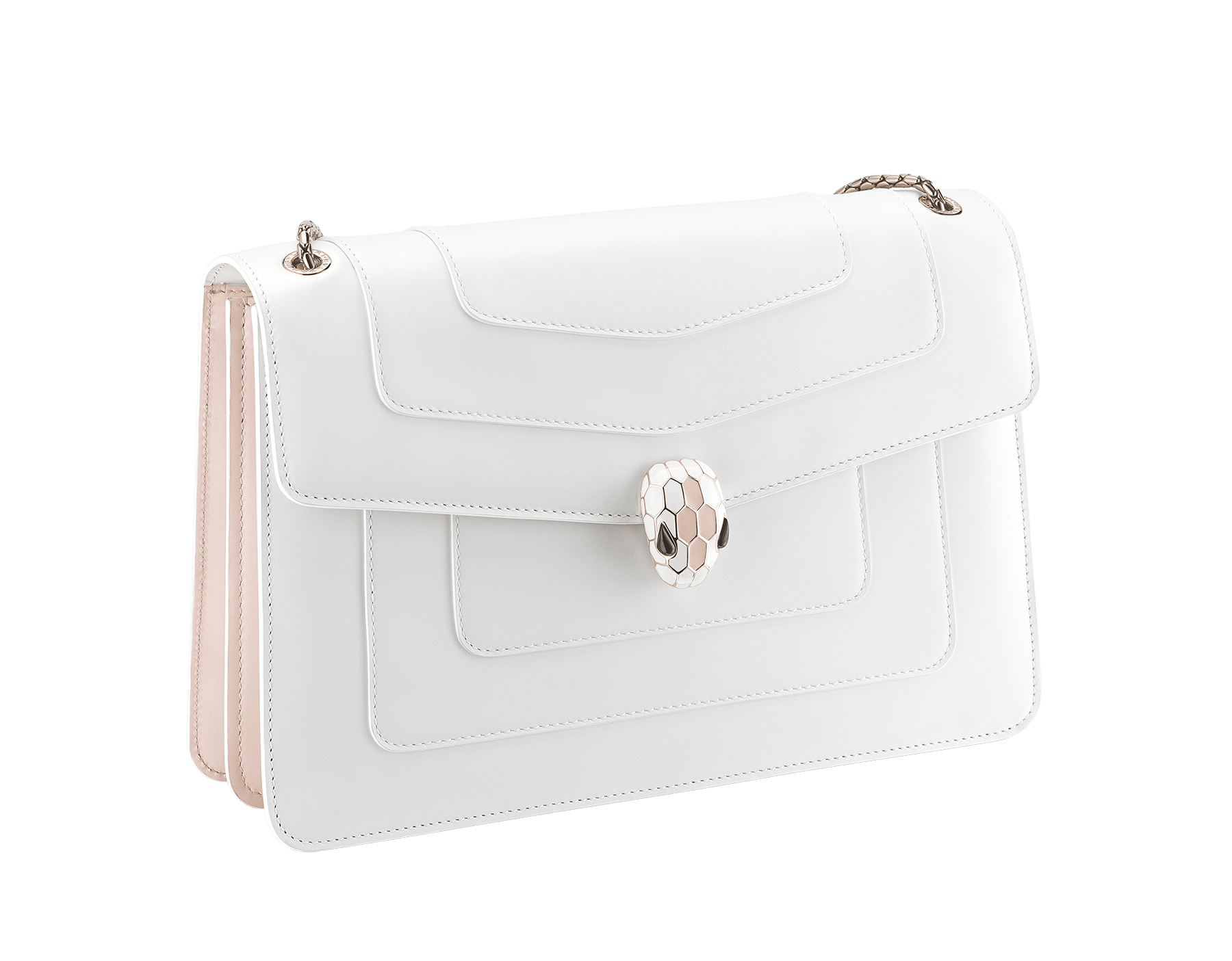 """Serpenti Forever"" shoulder bag in white calf leather body and crystal rose calf leather sides. Iconic snake head closure in light gold-plated brass enriched with white and crystal rose enamel and black onyx eyes. 290196 image 2"