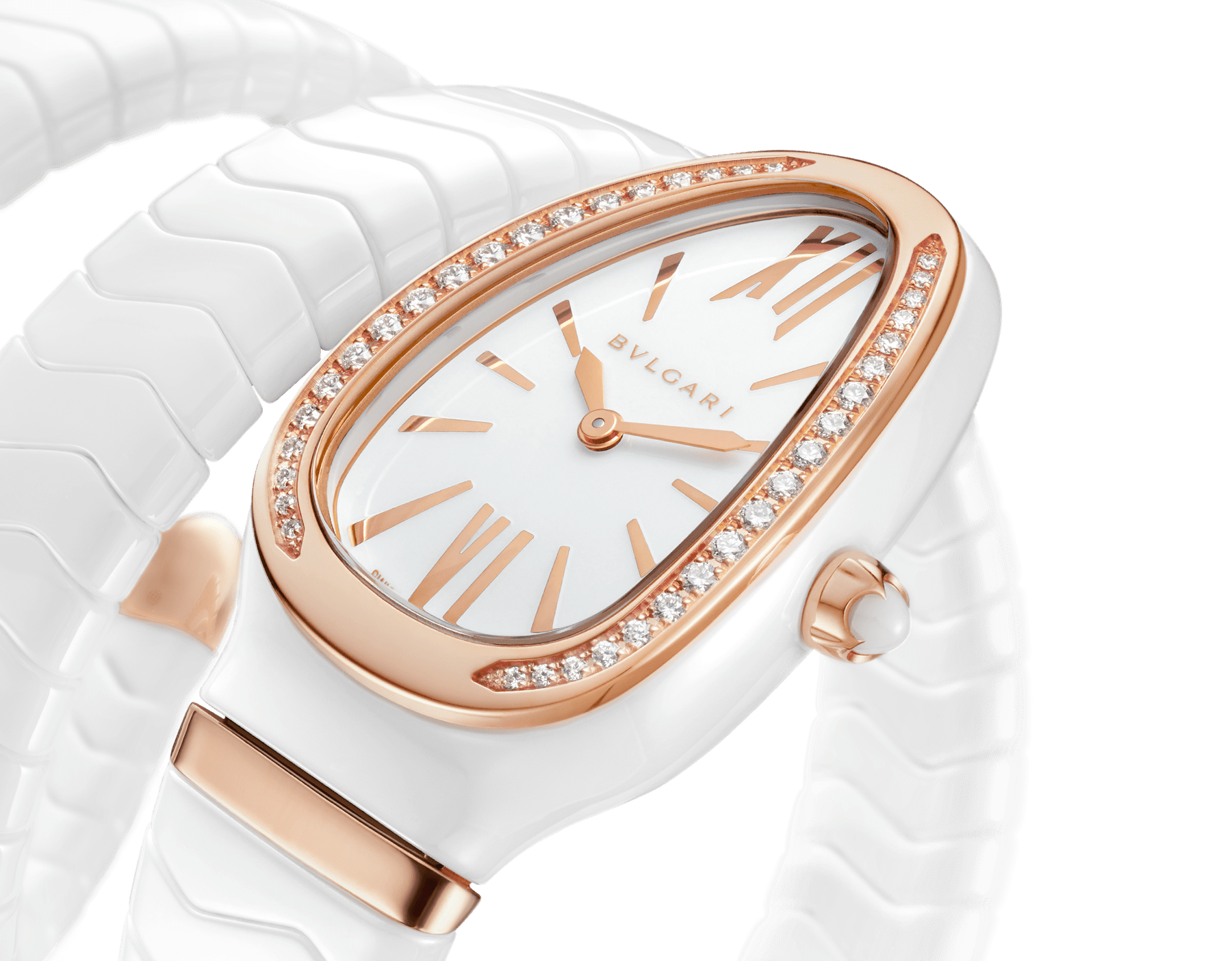 Serpenti Spiga watch with white ceramic case, 18 kt rose gold bezel set with diamonds, white lacquered polished dial and double spiral bracelet in white ceramic and 18 kt rose gold elements. 102886 image 3