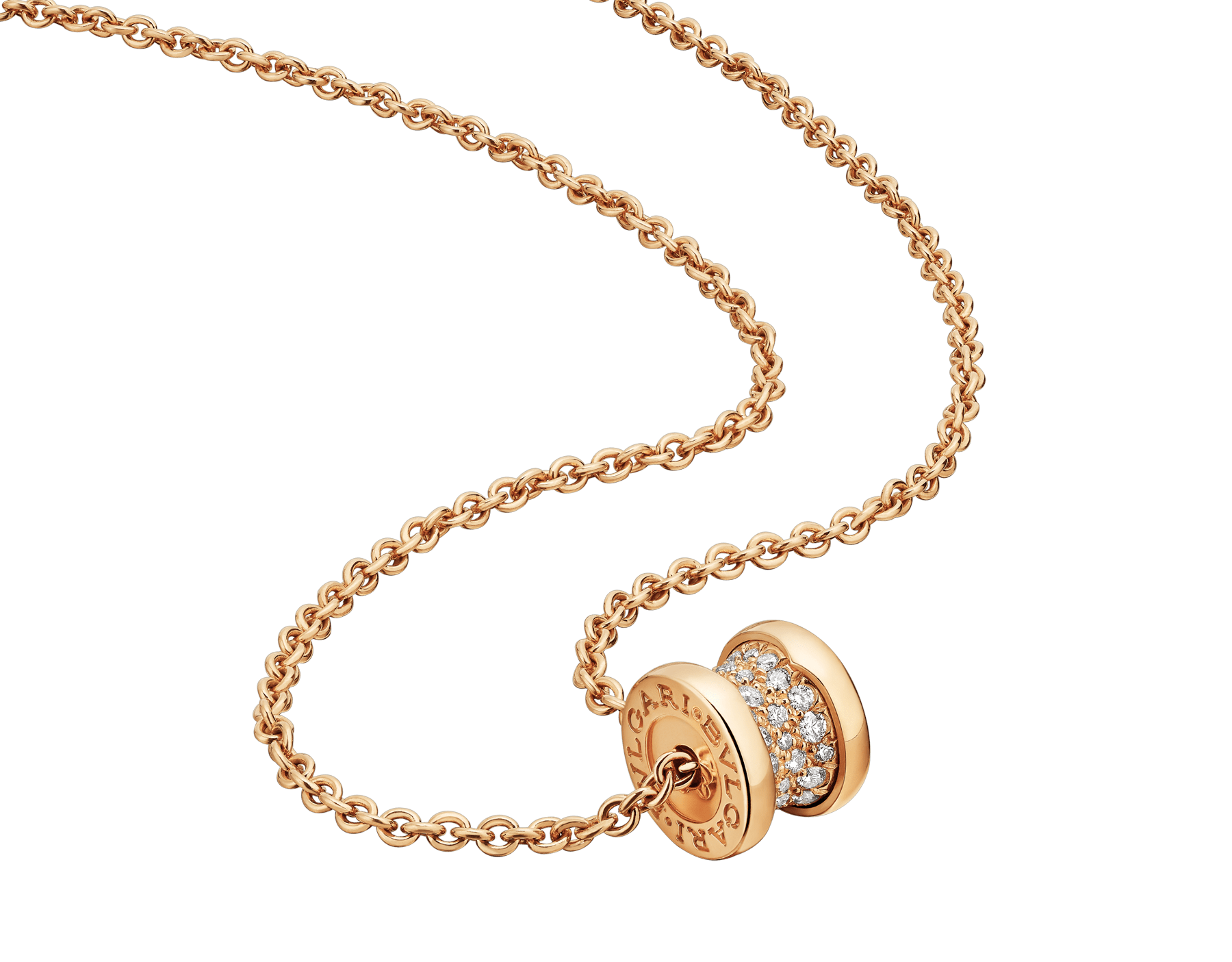 B.zero1 18 kt yellow gold necklace set with pavé diamonds on the spiral 357496 image 1