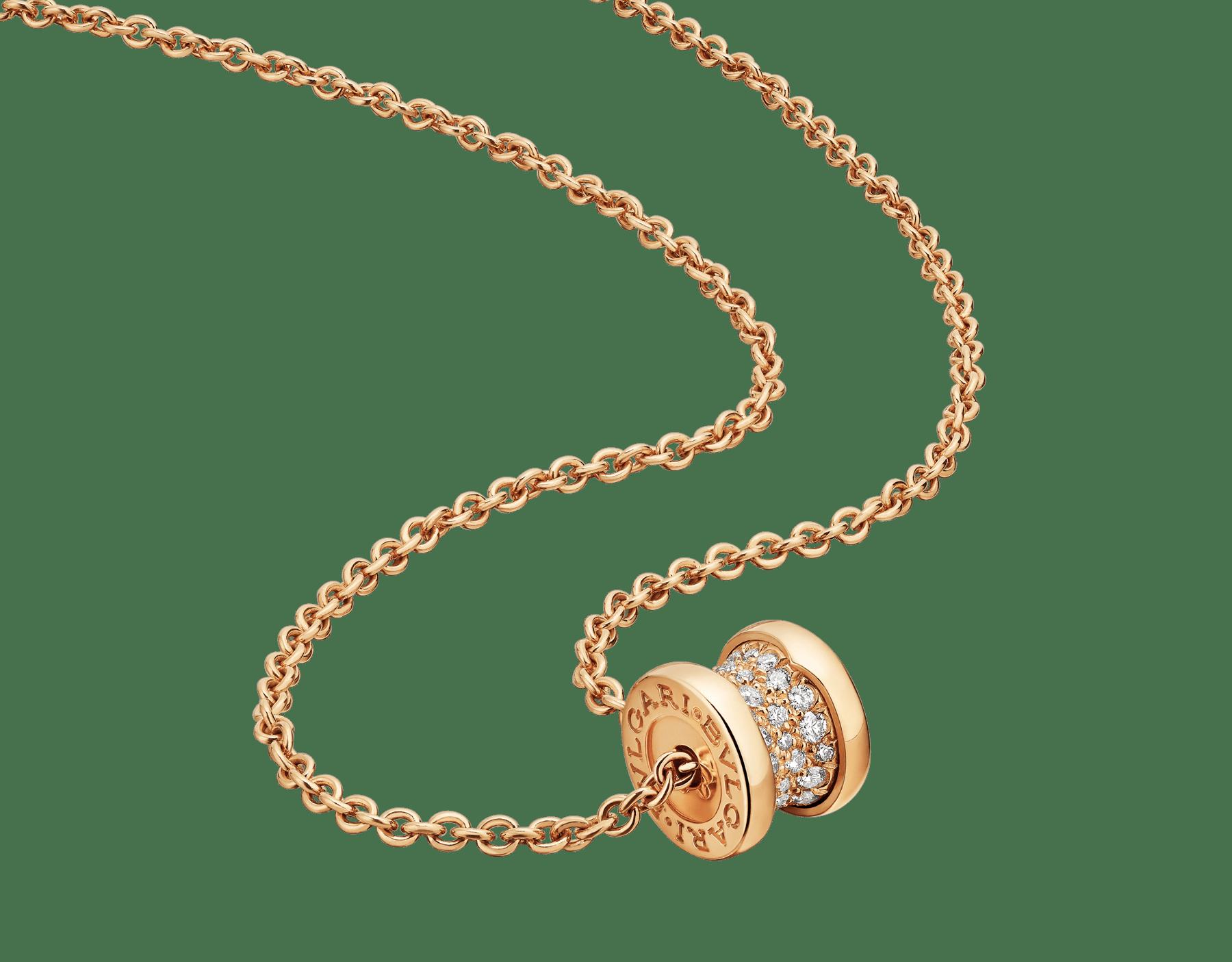 """""""B.zero1"""" Halskette aus 18 Karat Gelbgold, an der Spirale ausgefasst mit Diamant-Pavé 357496 image 1"""