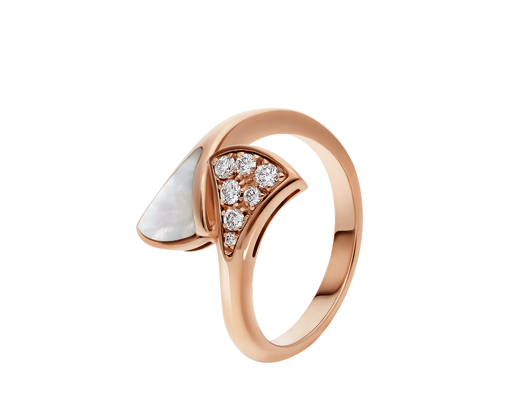 DIVAS' DREAM small contraire ring in 18 kt rose gold, set with mother-of-pearl and pavé diamonds (0.10 ct). AN858003 image 1