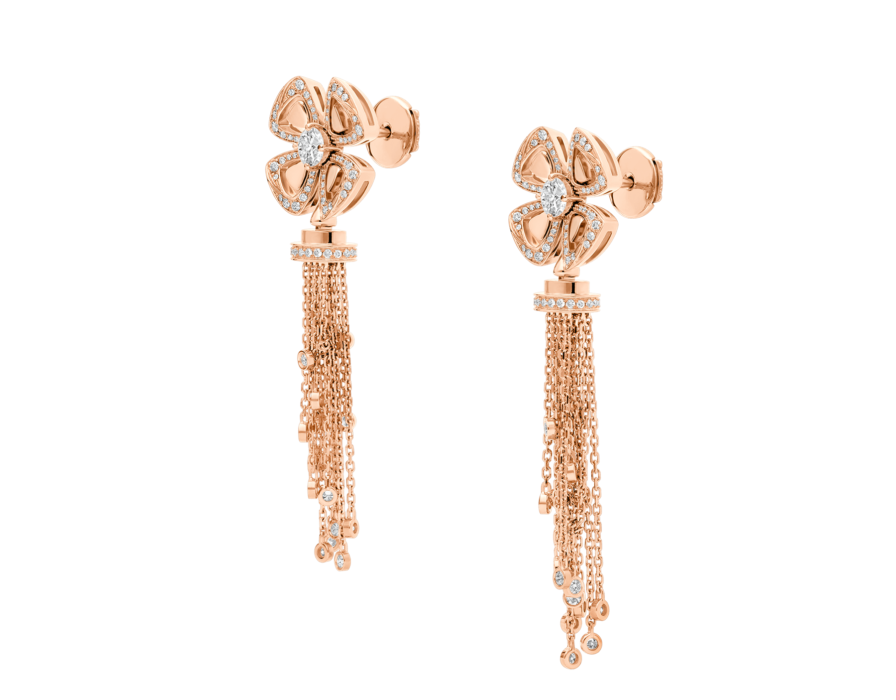 Fiorever 18 kt rose gold pendant earring, set with round brilliant-cut diamonds and pavé diamonds. 357322 image 2