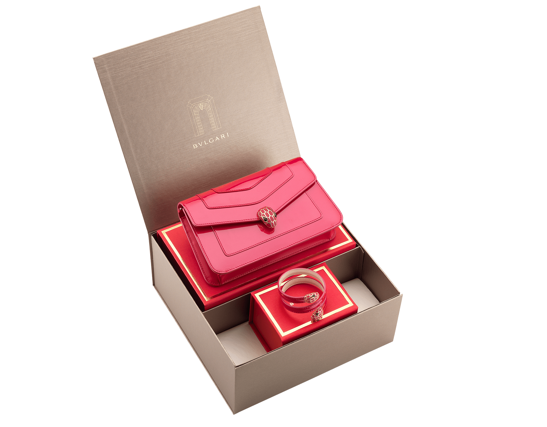 An elegant set of Bvlgari creations for a special Lunar New Year gift. women-gift-set-chain-wallet-and-bracelet image 1
