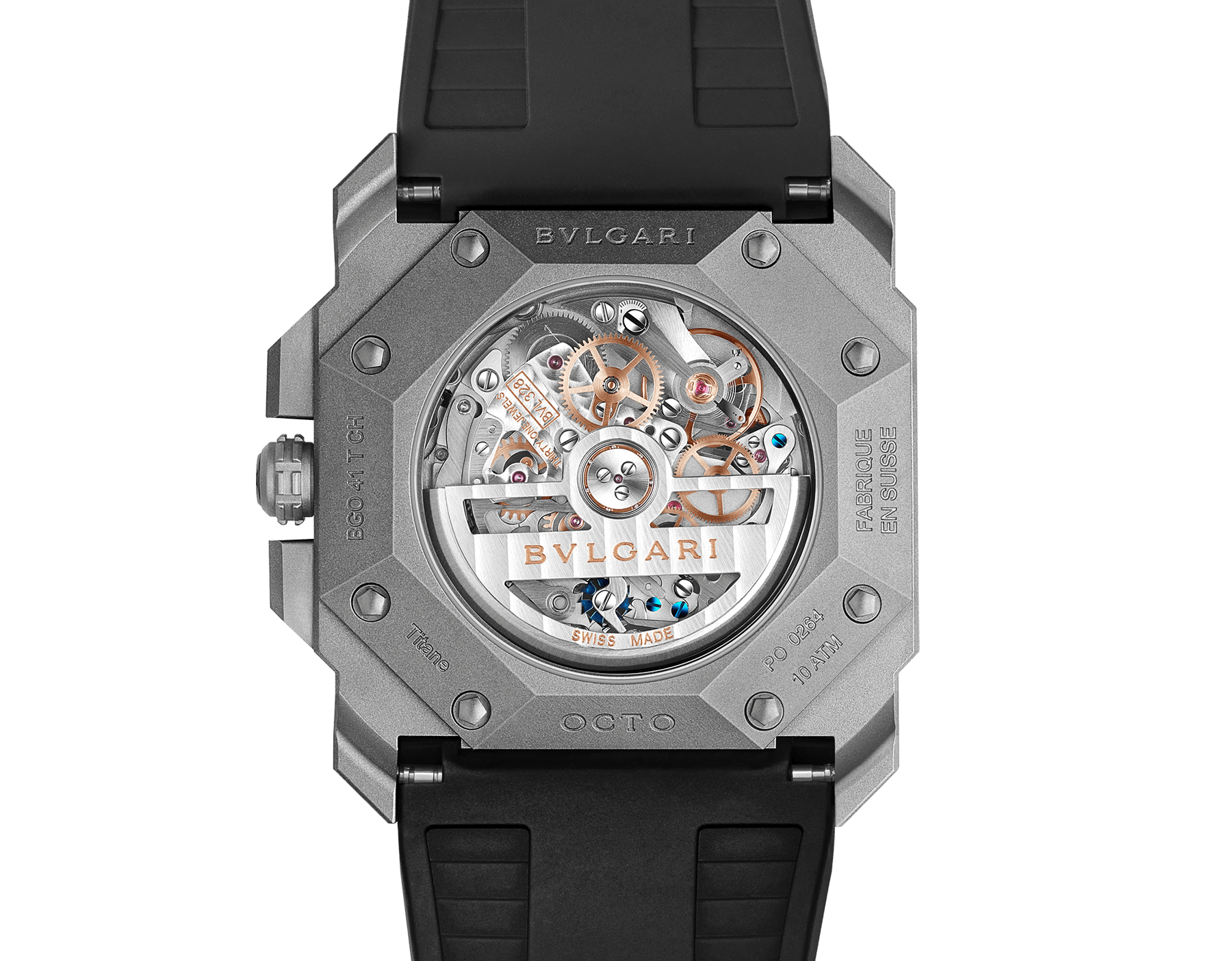 Octo L'Originale watch with mechanical manufacture movement, integrated high-frequency chronograph (5Hz), column wheel mechanism, silicon escapement, automatic winding and date, titanium case and dial, and black rubber bracelet 102859 image 4