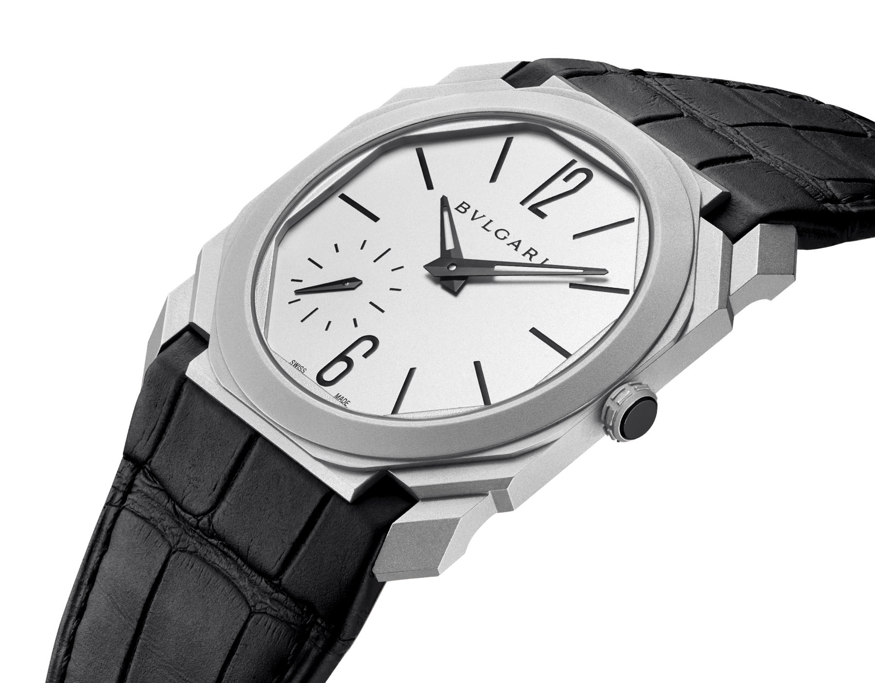 Octo Finissimo Automatic watch with mechanical manufacture movement, automatic winding, platinum microrotor, small seconds, extra-thin stainless steel case and dial, and black alligator bracelet 103035 image 2