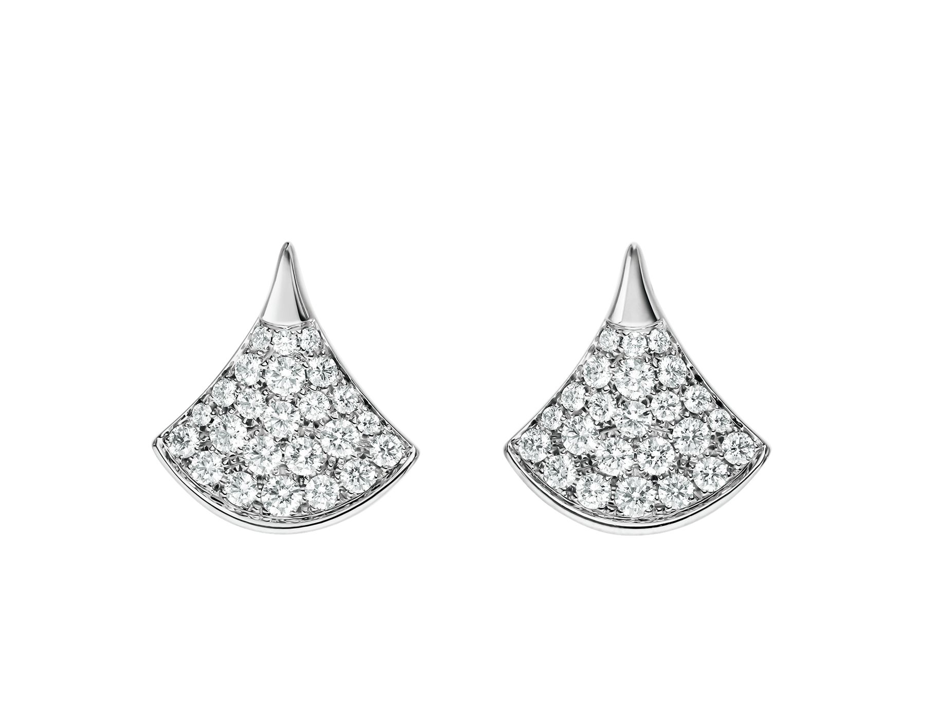 DIVAS' DREAM stud earrings in 18 kt white gold set with pavé diamonds. 352602 image 1