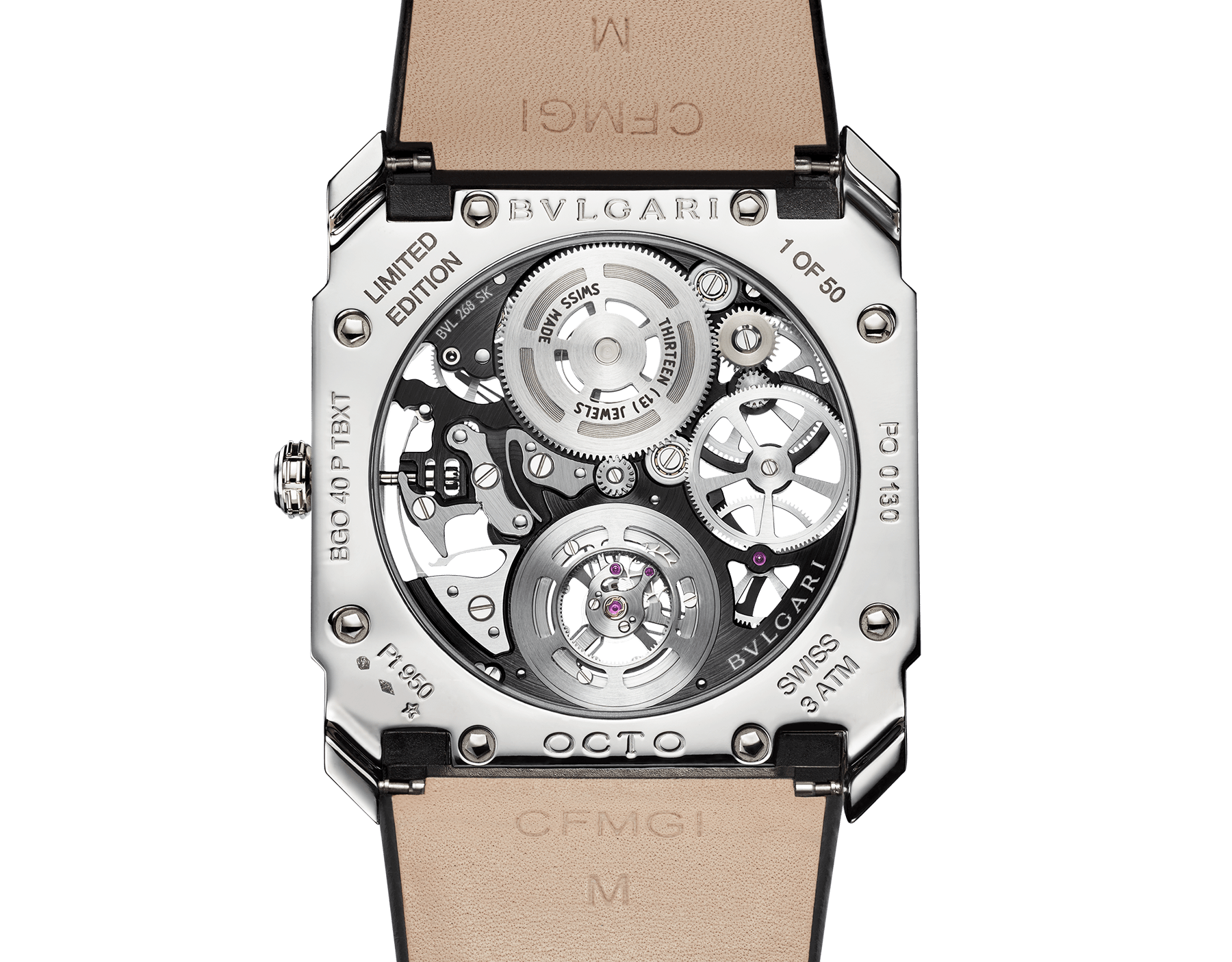 Octo Finissimo Tourbillon Squelette watch with ultra-thin mechanical skeleton movement, manual winding and ball-bearings system, platinum case, transparent dial and black alligator bracelet. 102719 image 4