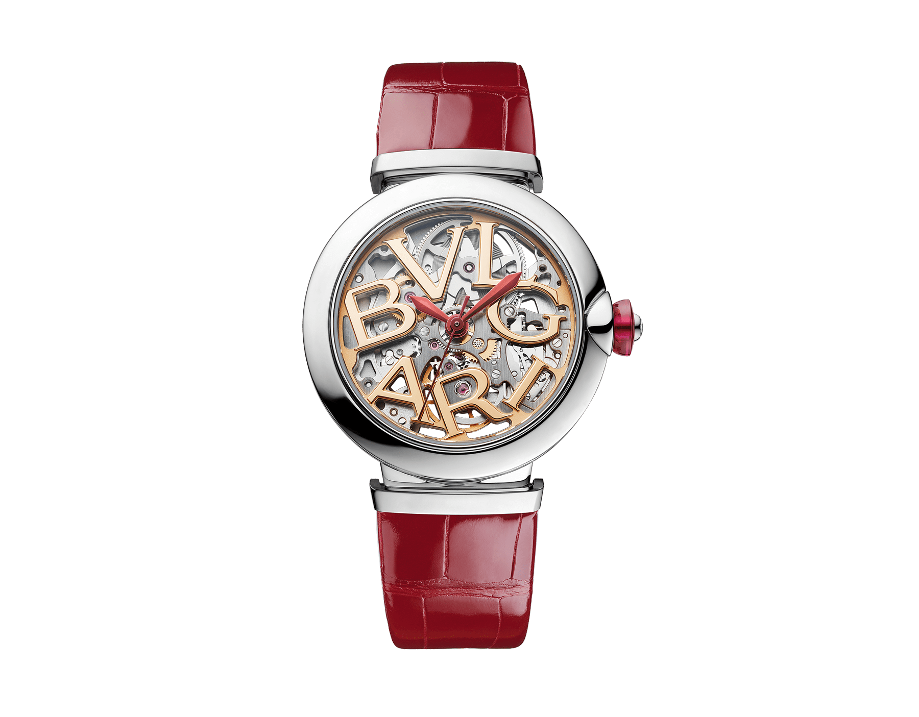 LVCEA Skeleton watch with mechanical manufacture movement, automatic winding, stainless steel case, openwork BVLGARI logo dial and red alligator bracelet 102879 image 1