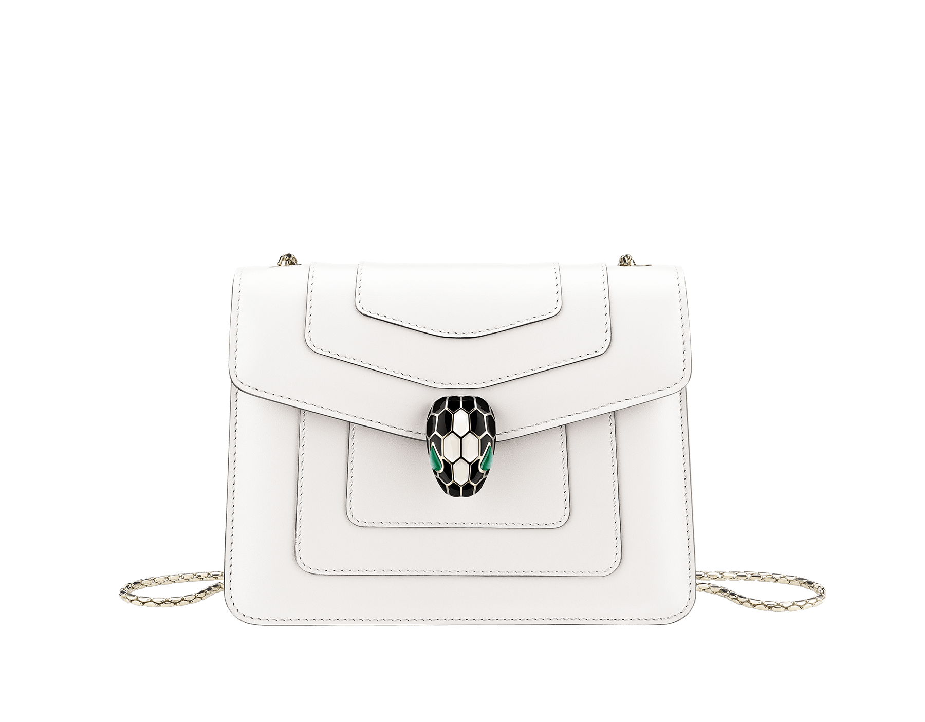 """""""Serpenti Forever"""" crossbody bag in emerald green calf leather with amethyst purple gros grain internal lining. Iconic snakehead closure in light gold plated brass enriched with black and white agate enamel, and green malachite eyes. 422-CLa image 1"""