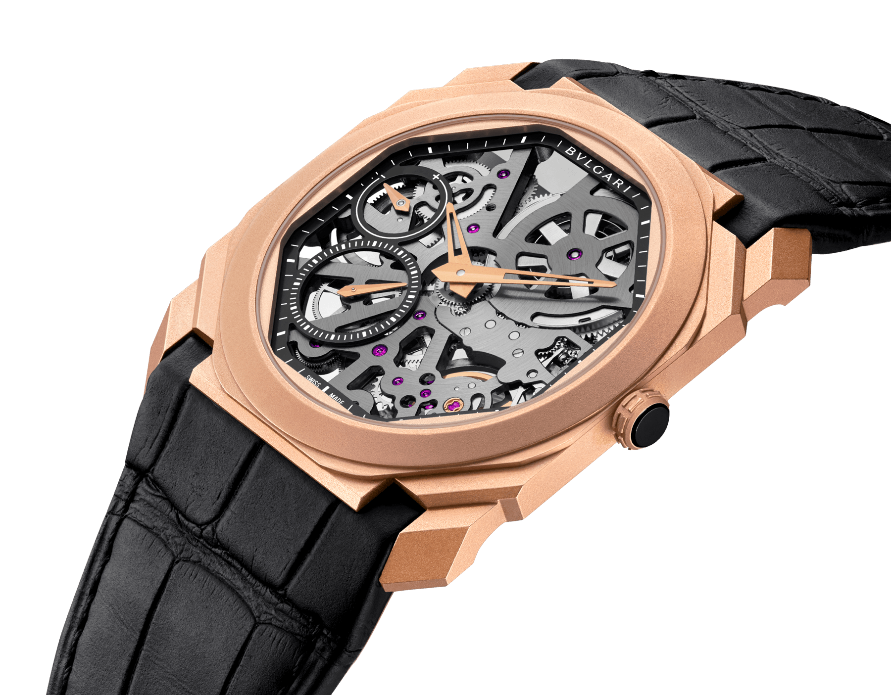Octo Finissimo Skeleton watch with mechanical skeletonized manufacture movement, manual winding, small seconds, power reserve indication, extra-thin 18 kt sandbalsted rose gold case, skeletonized dial and black alligator bracelet 102946 image 2