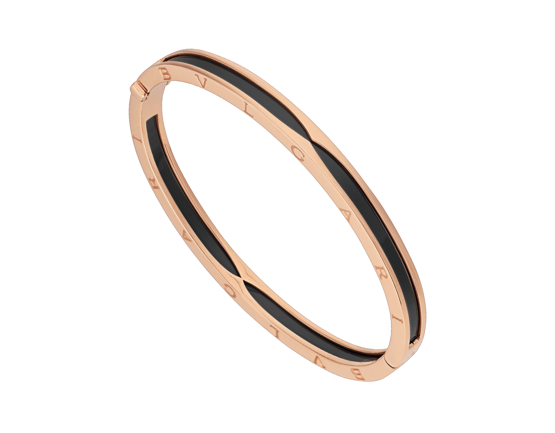 B.zero1 bangle bracelet in 18 kt rose gold with black ceramic. BR857618 image 1
