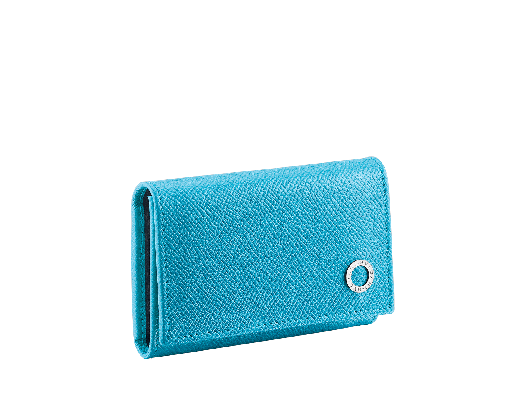 """BVLGARI BVLGARI"" double key holder in capri turquoise and royal sapphire grain calf leather. Detachable car key holder in palladium plated brass. BBM-DOUBLE-KEYHOLDb image 1"