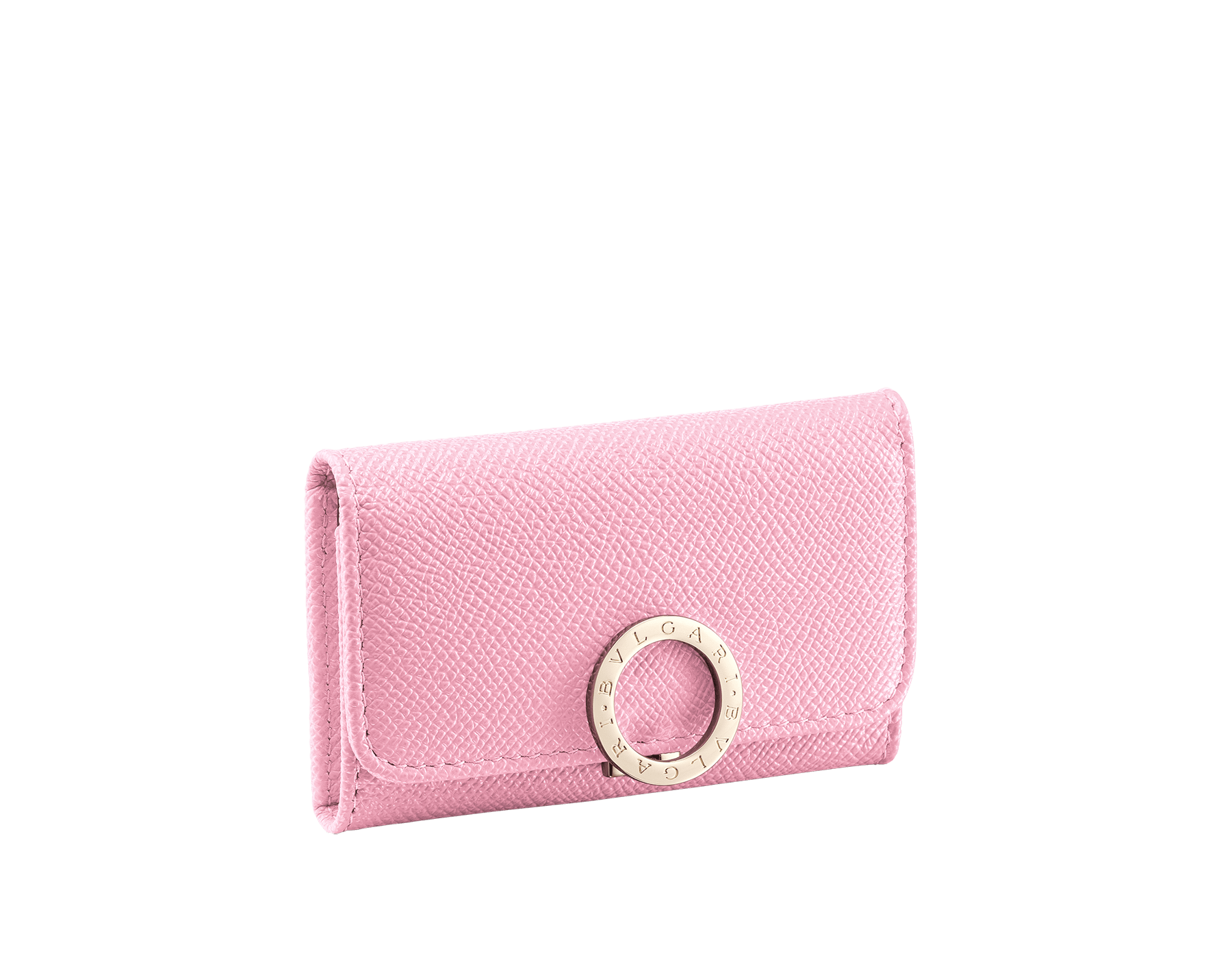 Piccolo portachiavi BVLGARI BVLGARI in vitello martellato rosa fenicottero e nappa granato romano. Iconica chiusura a clip con logo in ottone placcato oro chiaro. 288155 image 1