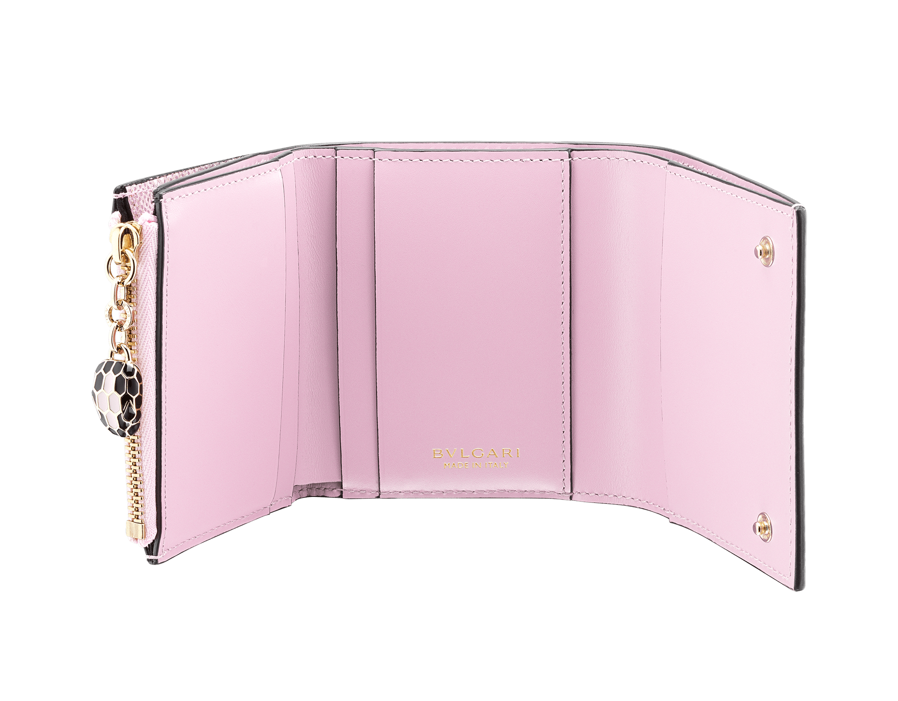 Serpenti Forever super compact wallet in rosa di francia metallic karung skin and rosa di francia calf leather. Iconic snakehead press stud closure in black and rosa di francia enamel, black enamel eyes. 289080 image 2