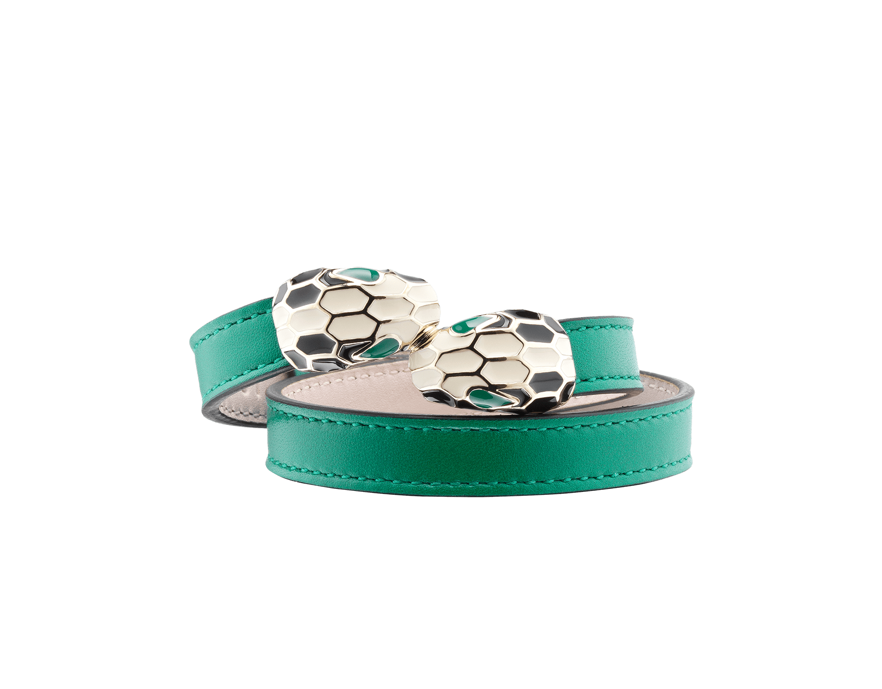 Multi-coiled bracelet in emerald green calf leather. Brass light gold plated iconic contraire Serpenti head closure in black and white enamel with malachite enamel eyes. 39997 image 1
