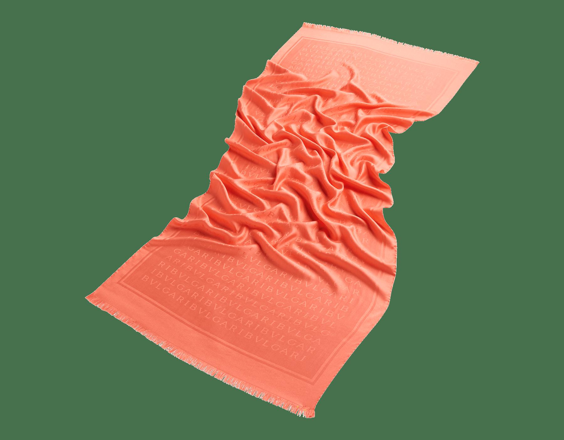 Silky Coral Lettere Maxi Light stole in fine silk. 244058 image 2