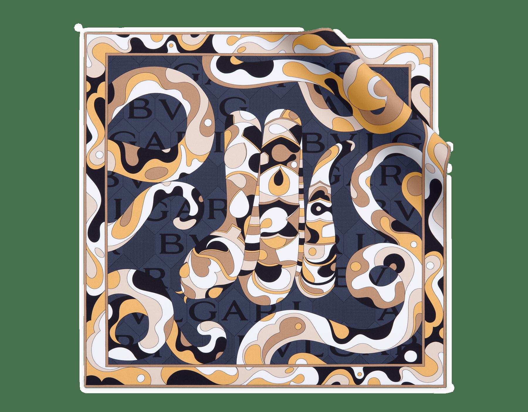 「Snakeflage」柄があしらわれたブラックのスカーフ。上質なツイルシルク製。 244016 image 1