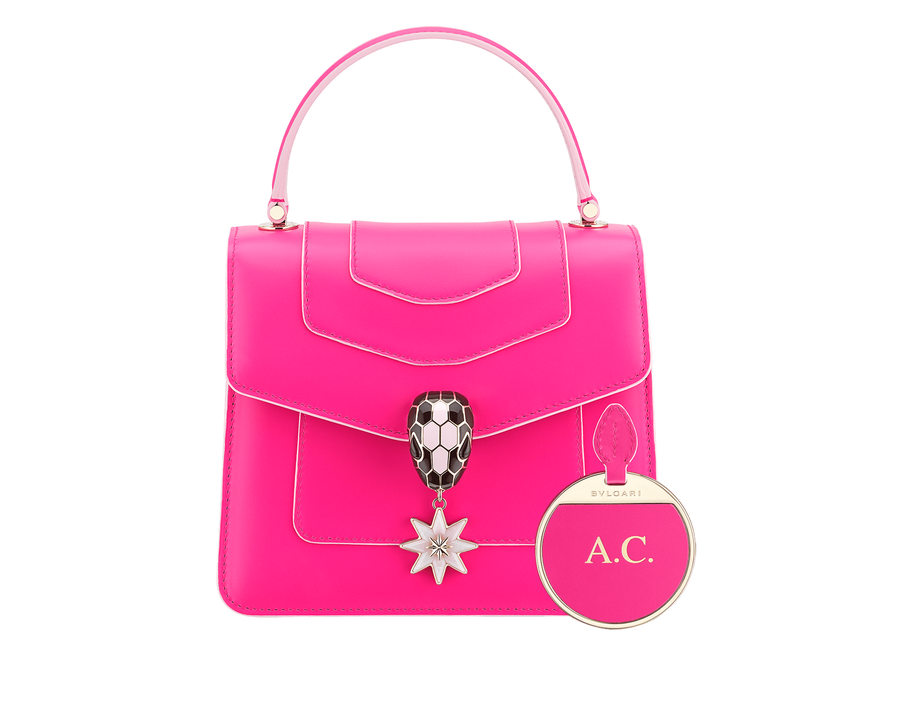 Serpenti Forever Holiday Season crossbody bag in flash amethyst, rose quartz brushed metallic and rosa di francia calf leather. Snakehead closure in light gold plated brass embellished with black and sakura pink enamel, black onyx eyes and a pink opal eight-pointed star charm. 289373 image 3